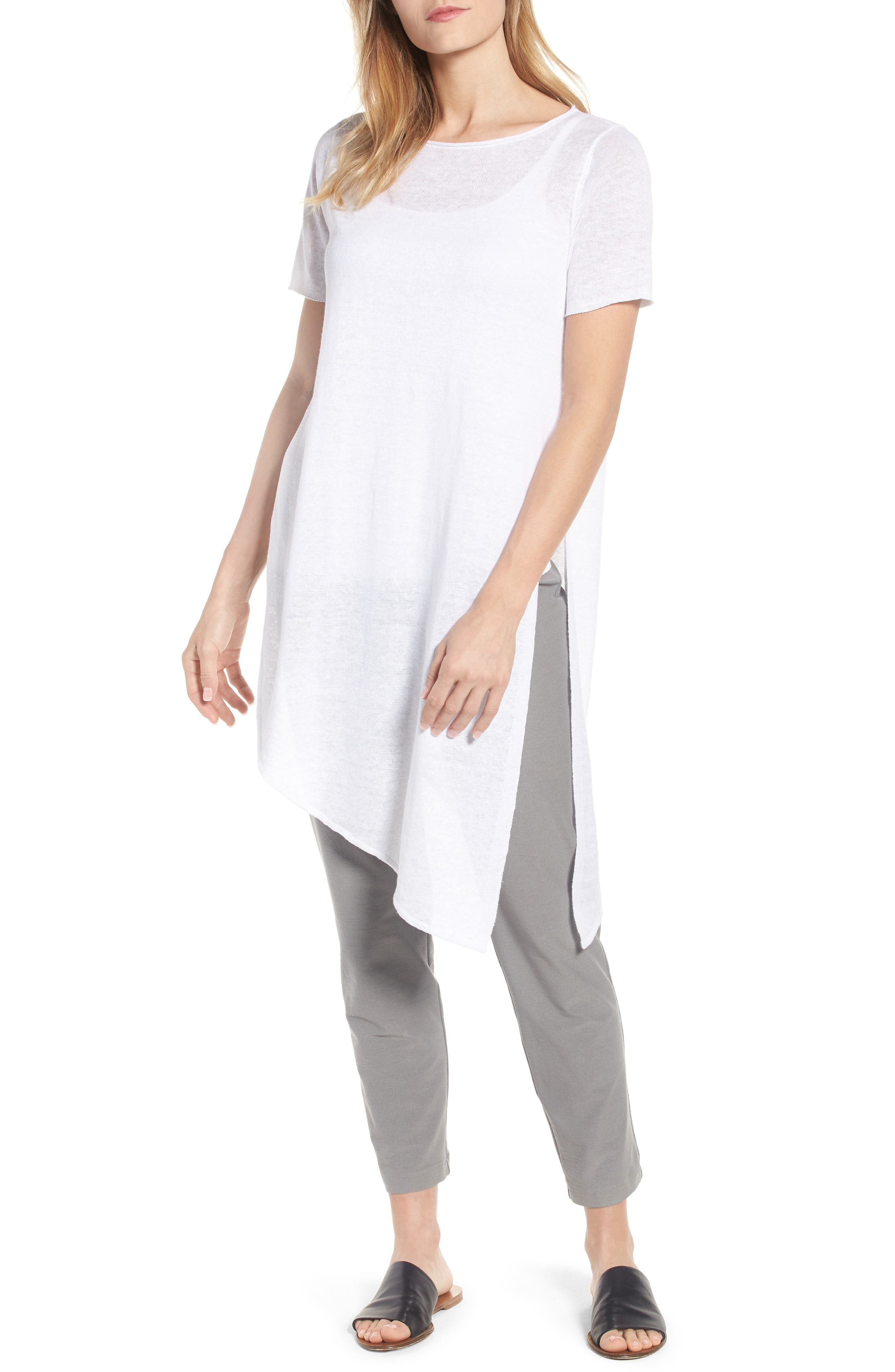 Eileen Fisher Asymmetrical Organic Linen Tunic (Regular & Petite)