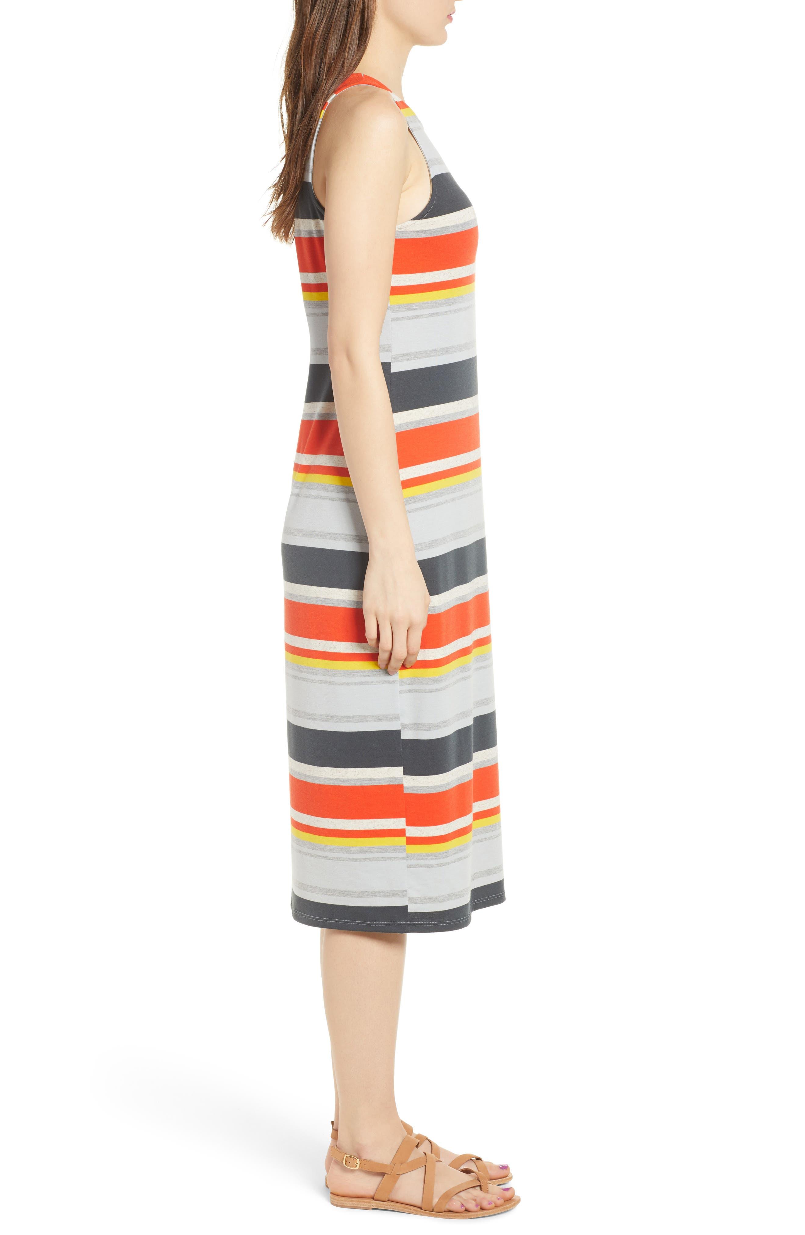 Stripe Midi Dress,                             Alternate thumbnail 3, color,                             Orange Multi