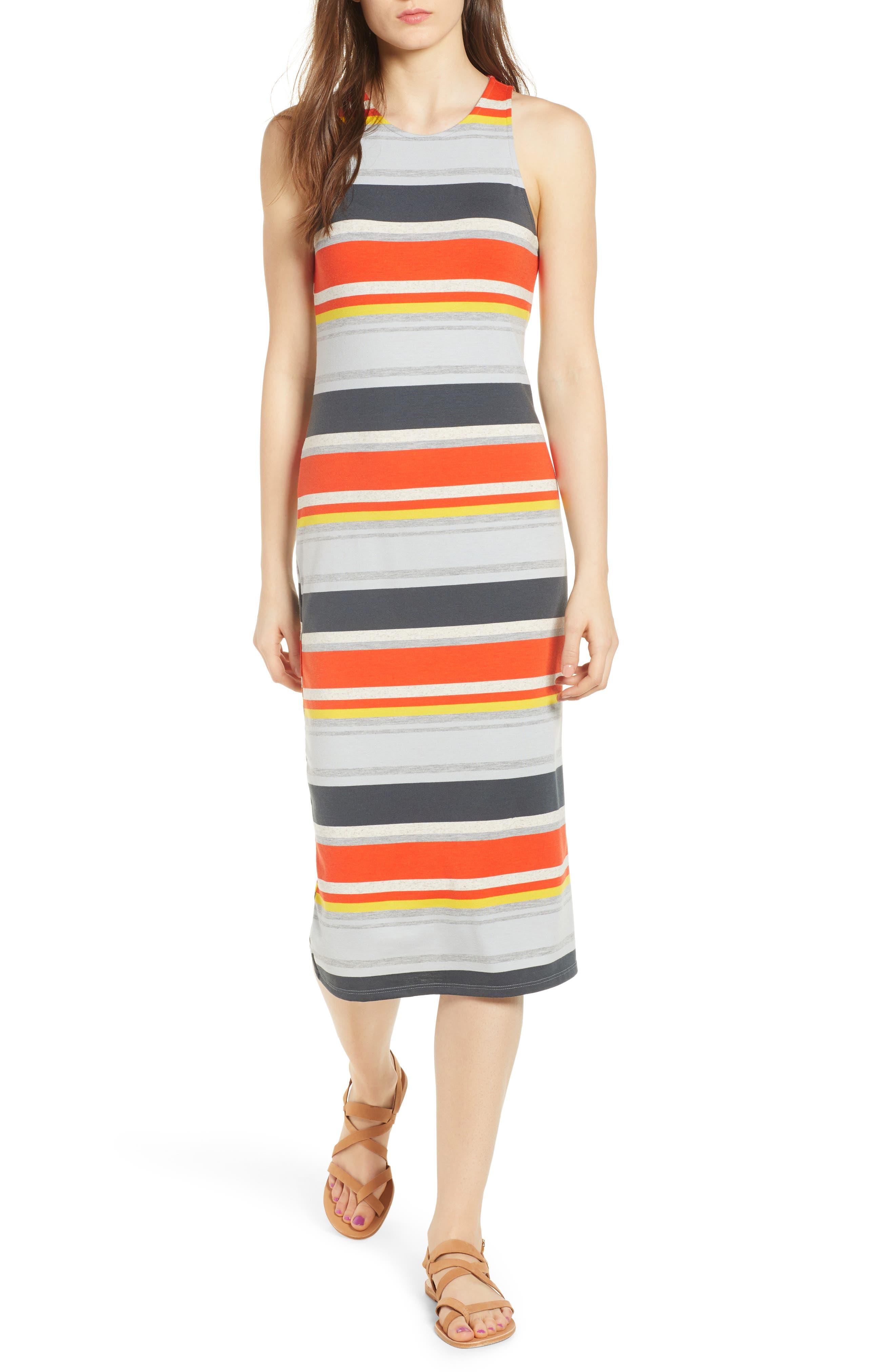 Stripe Midi Dress,                             Main thumbnail 1, color,                             Orange Multi