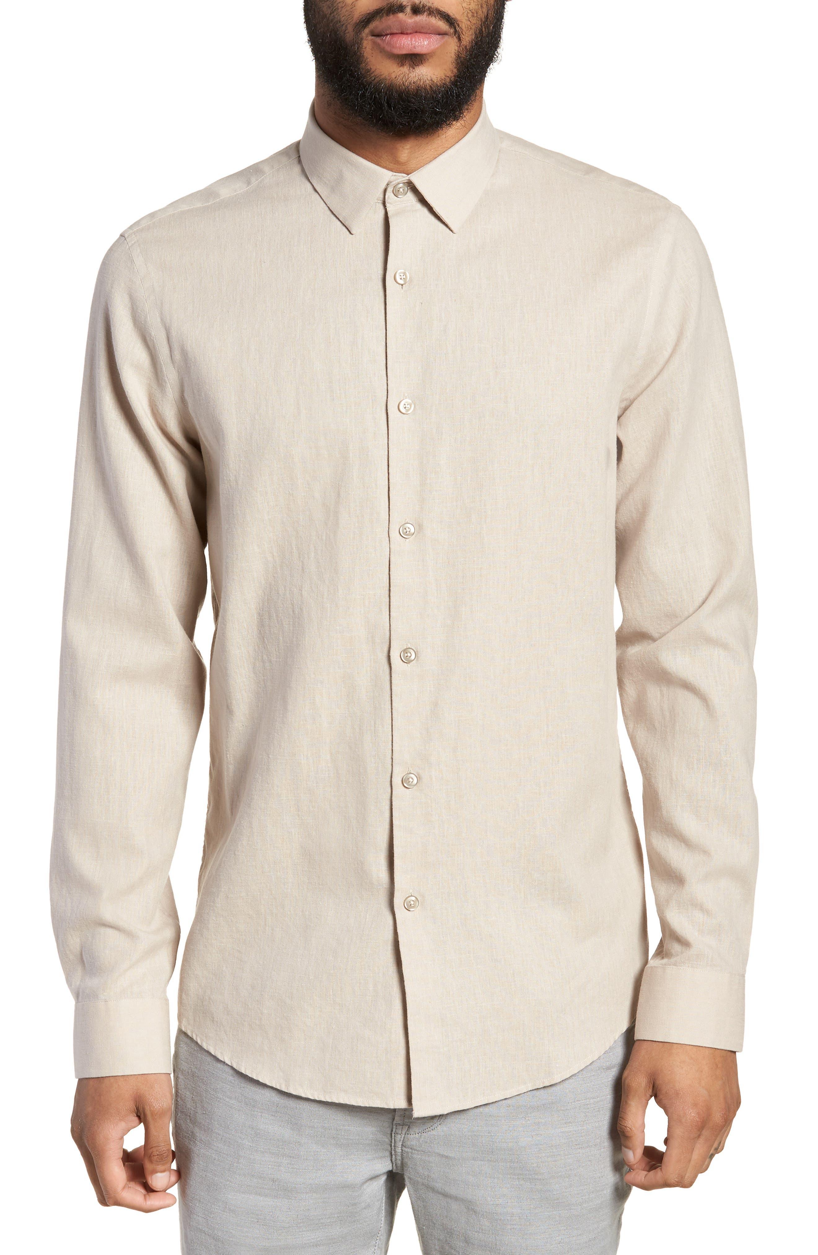 Linen Blend Sport Shirt,                         Main,                         color, Beige Bliss