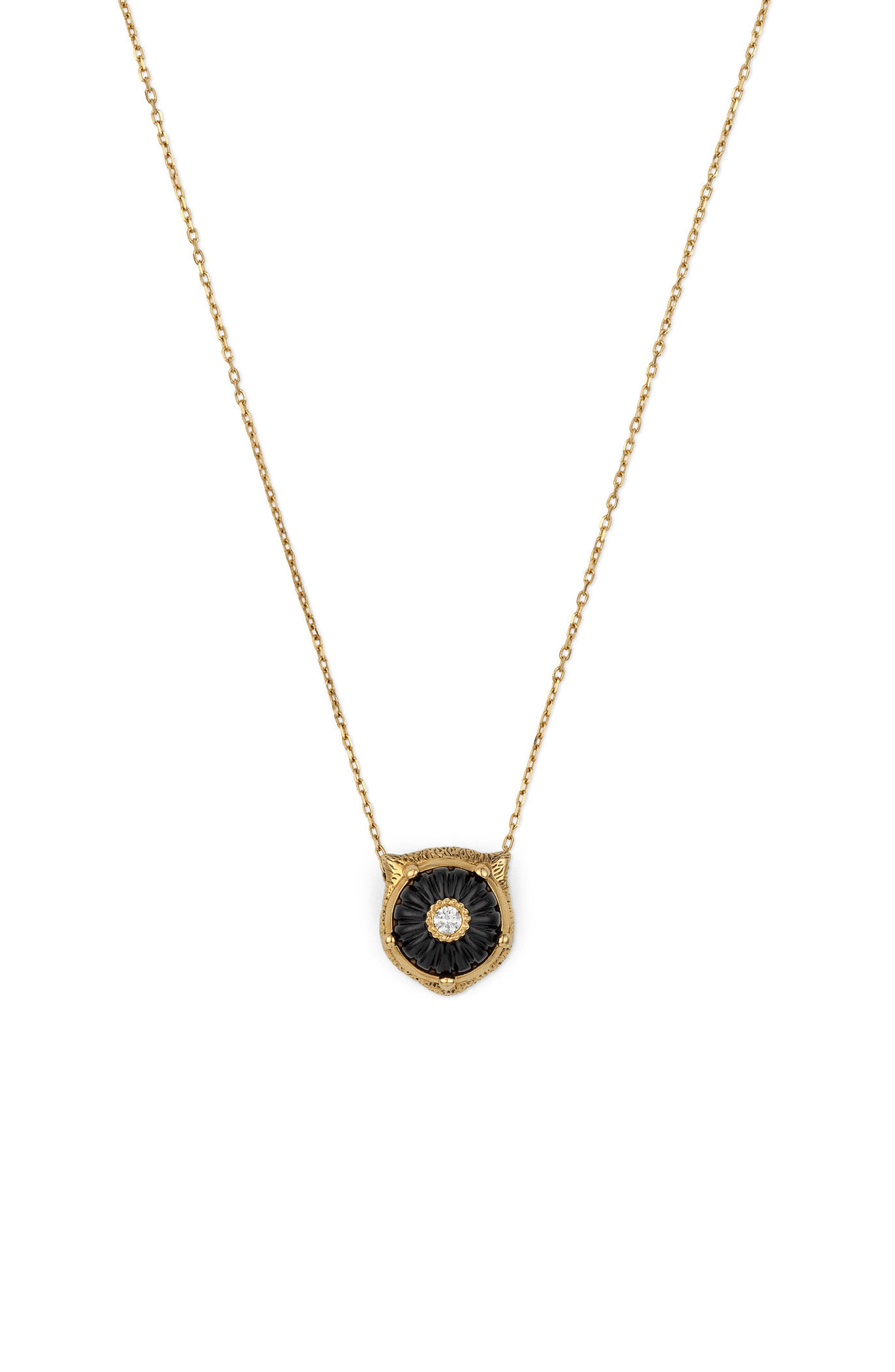 Gucci Feline Head Diamond & Onyx Pendant Necklace
