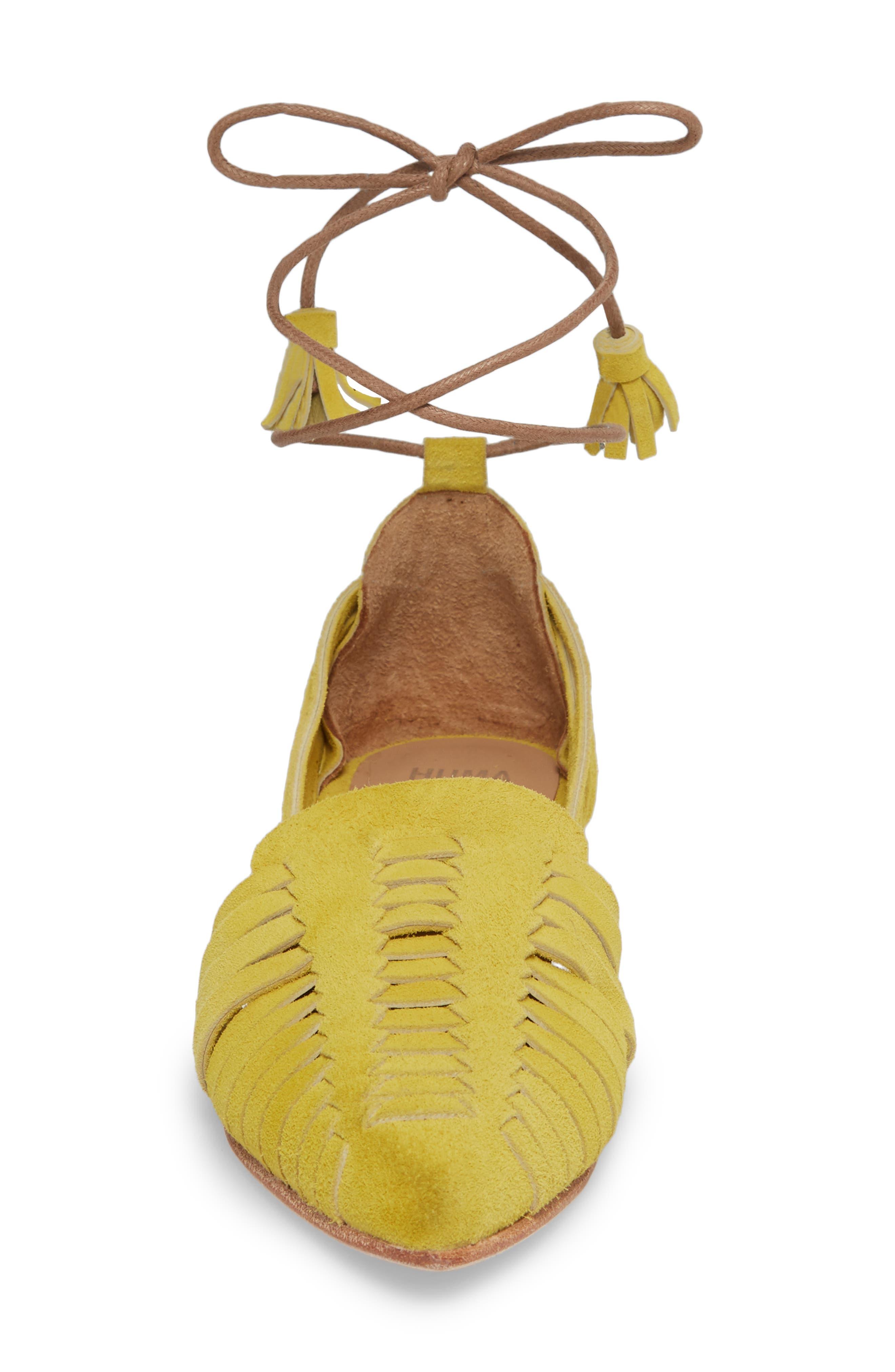 Hollis Huarache Ankle Tie Flat,                             Alternate thumbnail 4, color,                             Citron Suede