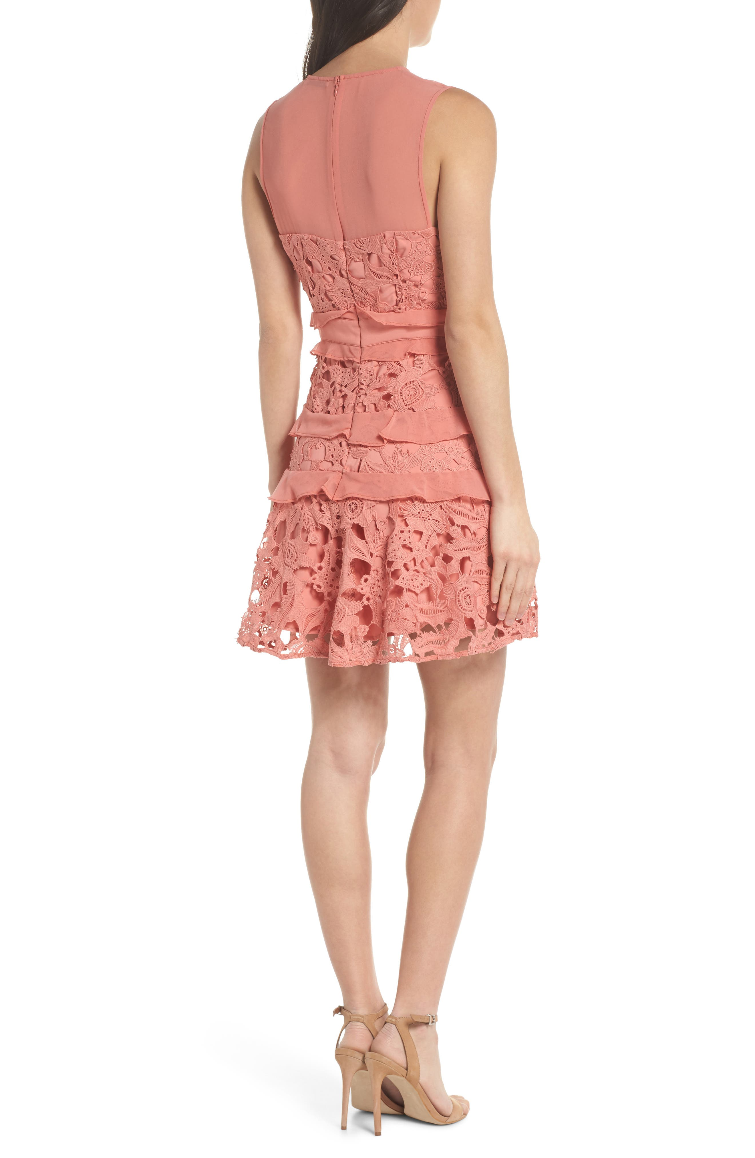 Lace Parfait Minidress,                             Alternate thumbnail 2, color,                             Dusty Rose