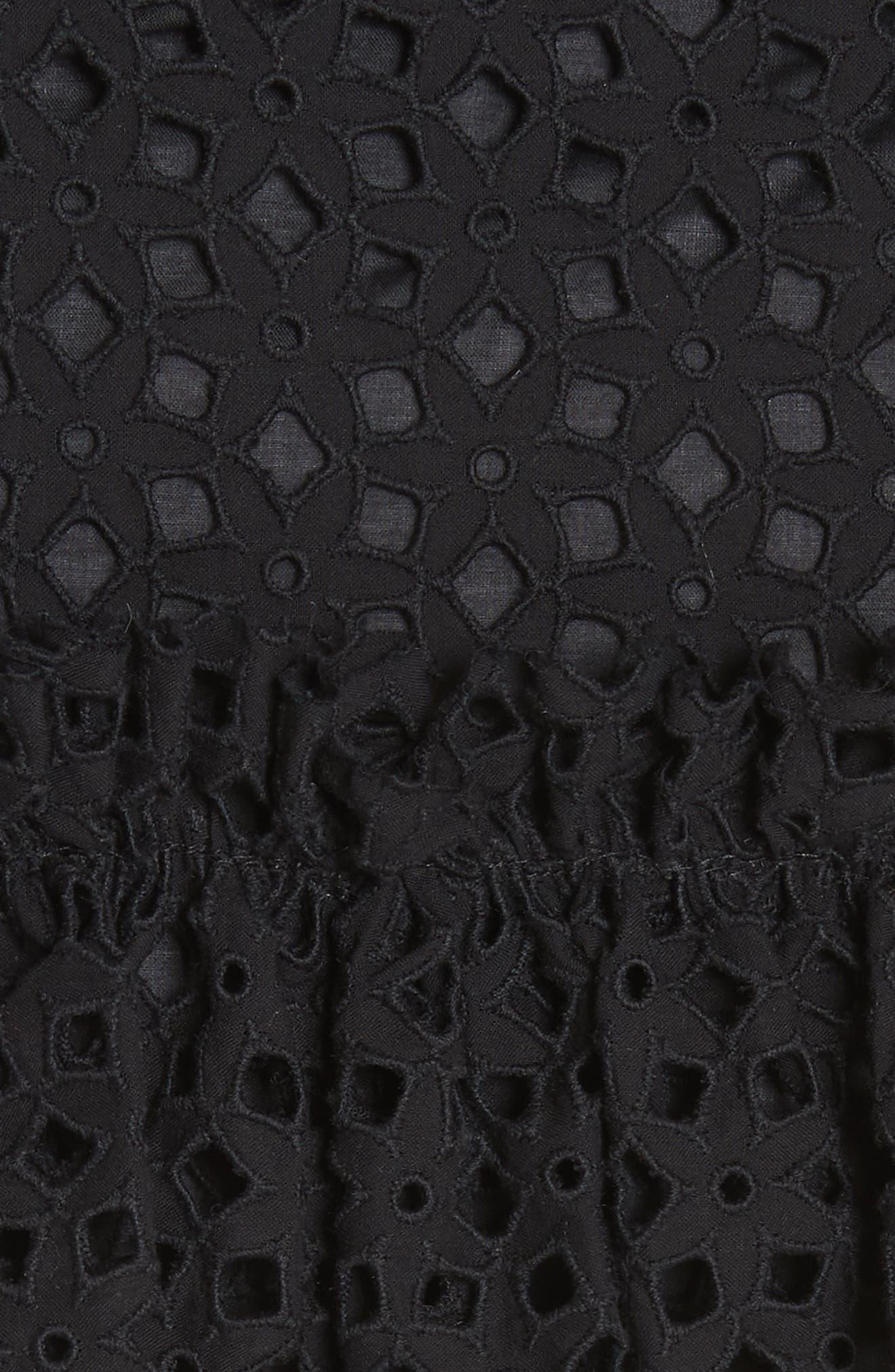 Floral Ruffle Tiered Cotton Eyelet Miniskirt,                             Alternate thumbnail 5, color,                             Black