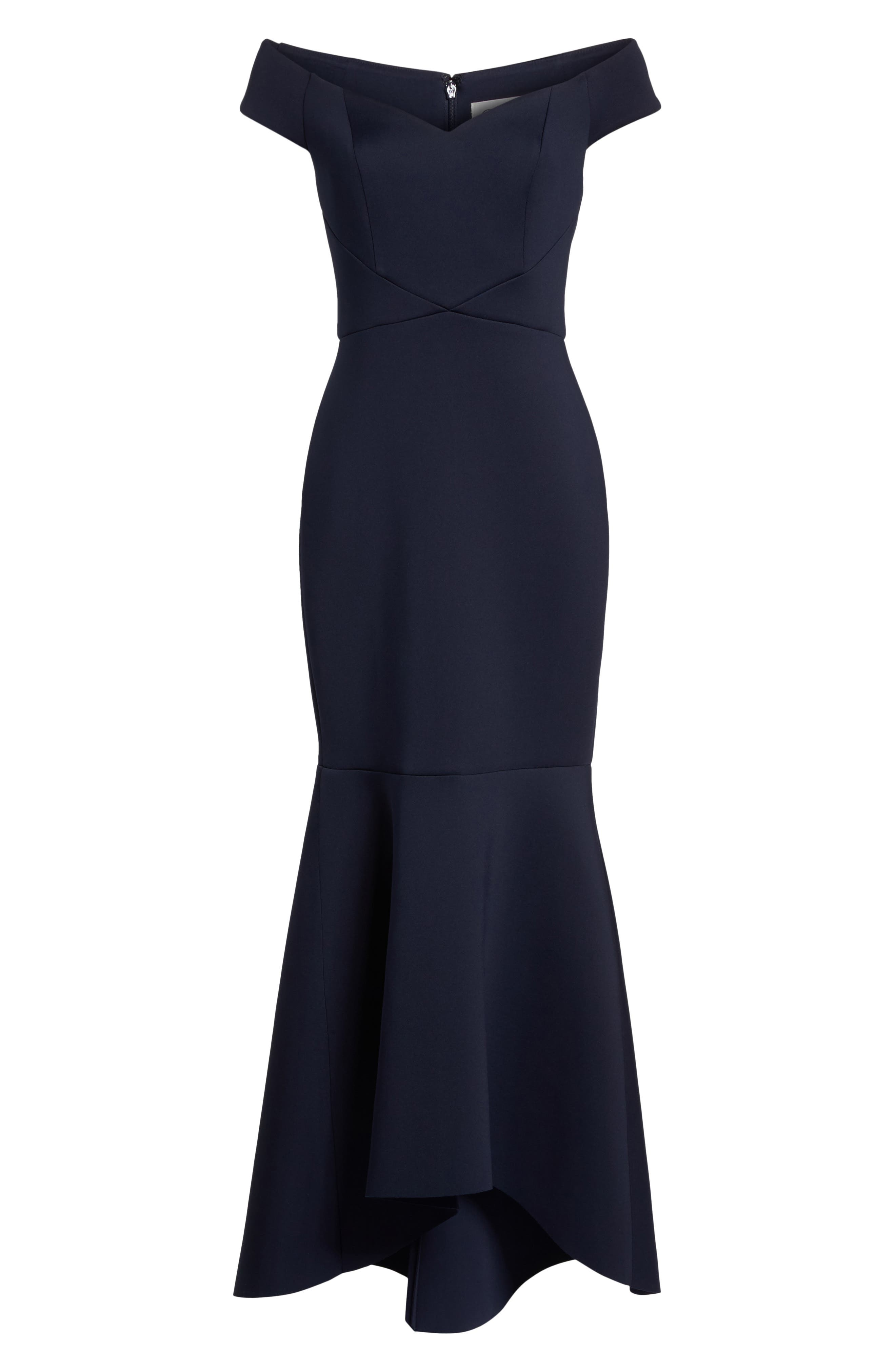 Off the Shoulder Trumpet Gown,                             Alternate thumbnail 6, color,                             Navy