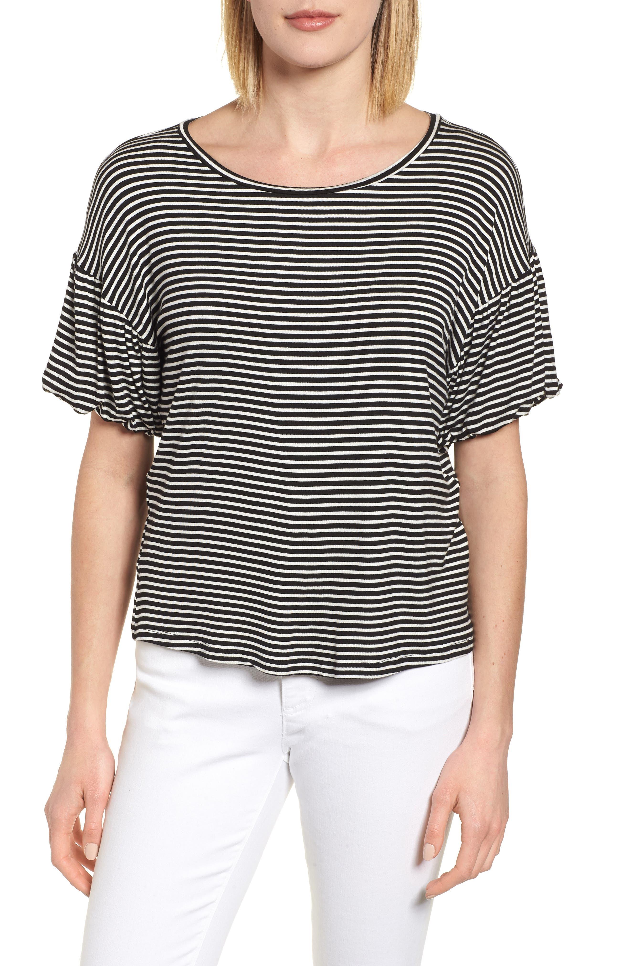 Knit Bubble Sleeve Tee,                         Main,                         color, Black/ Ivory