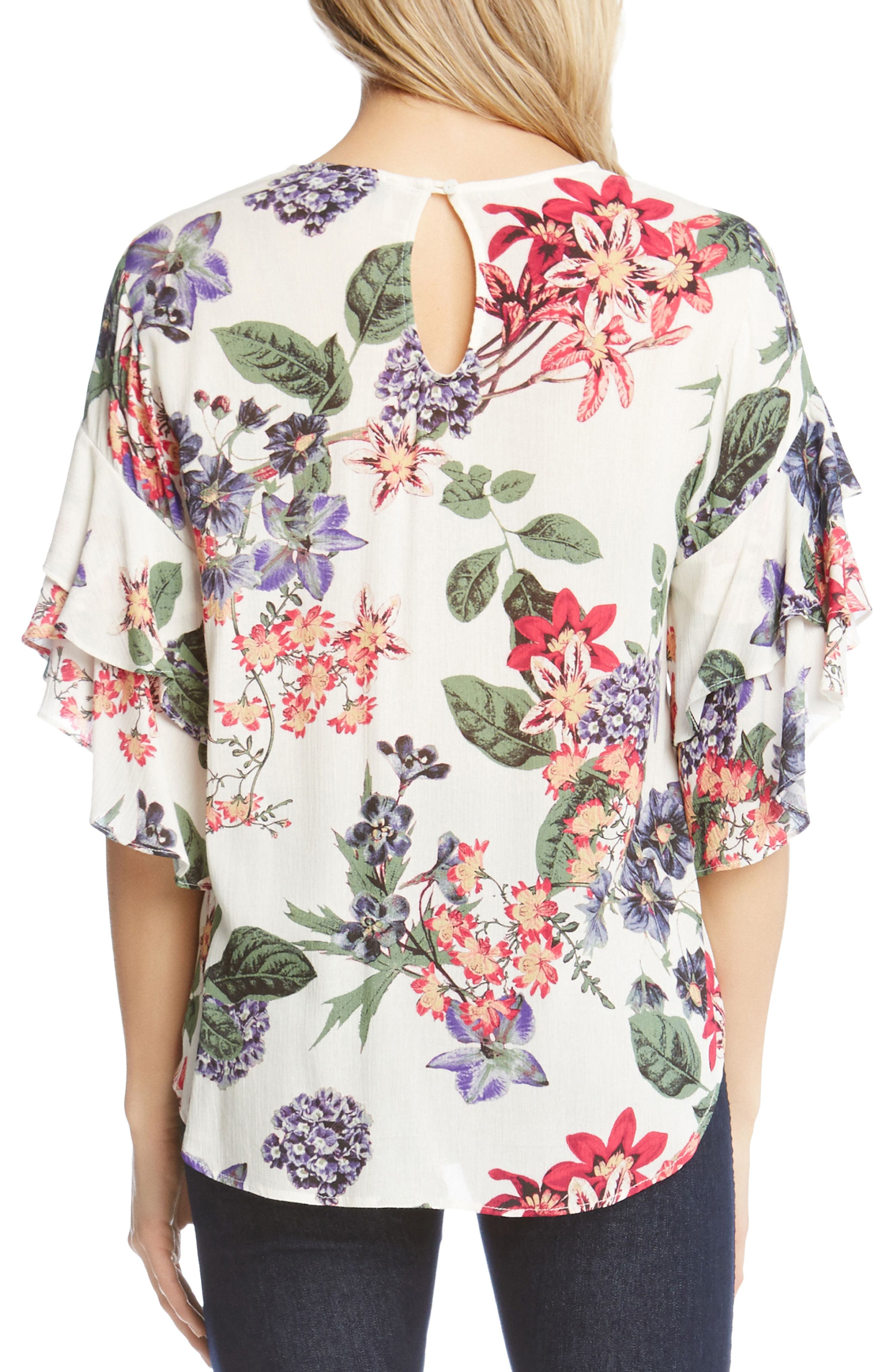 Ruffle Sleeve Floral Top,                             Alternate thumbnail 2, color,                             Print