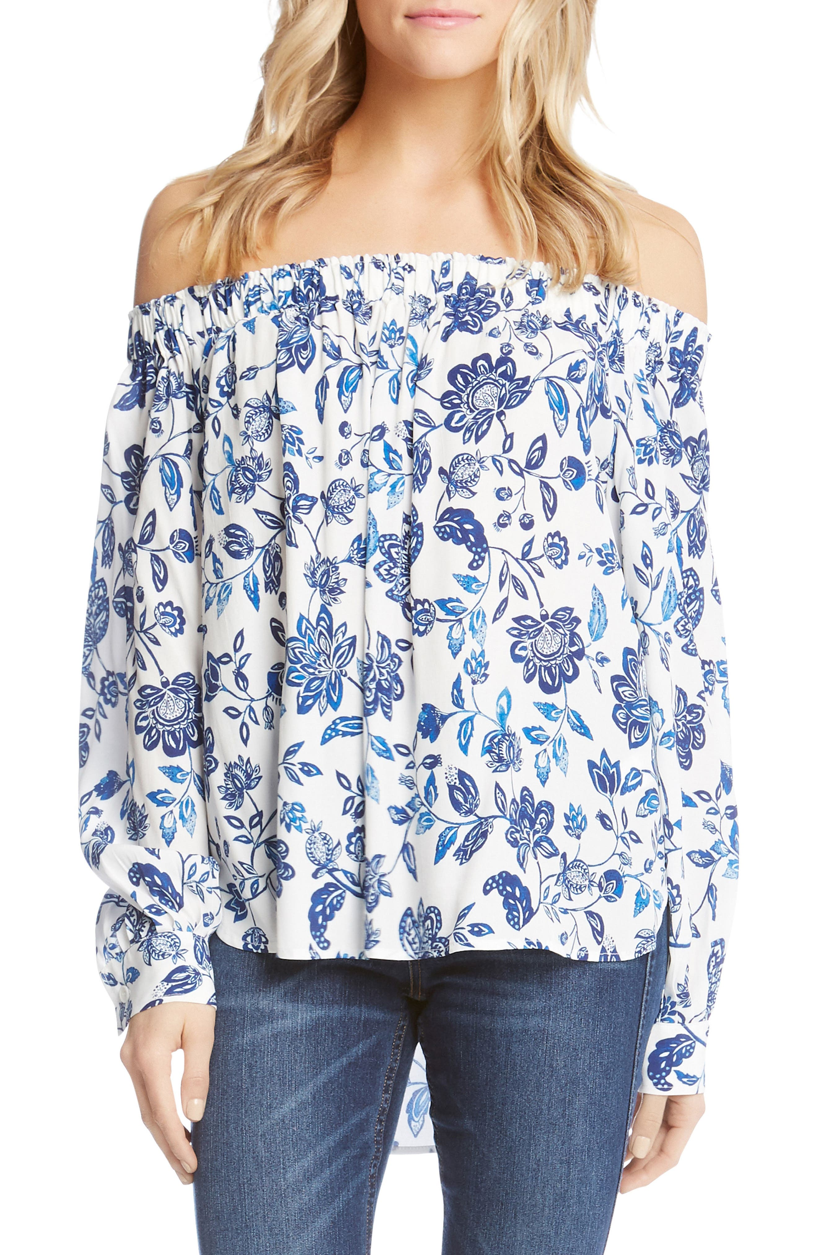 Off the Shoulder High/Low Top,                             Main thumbnail 1, color,                             Print
