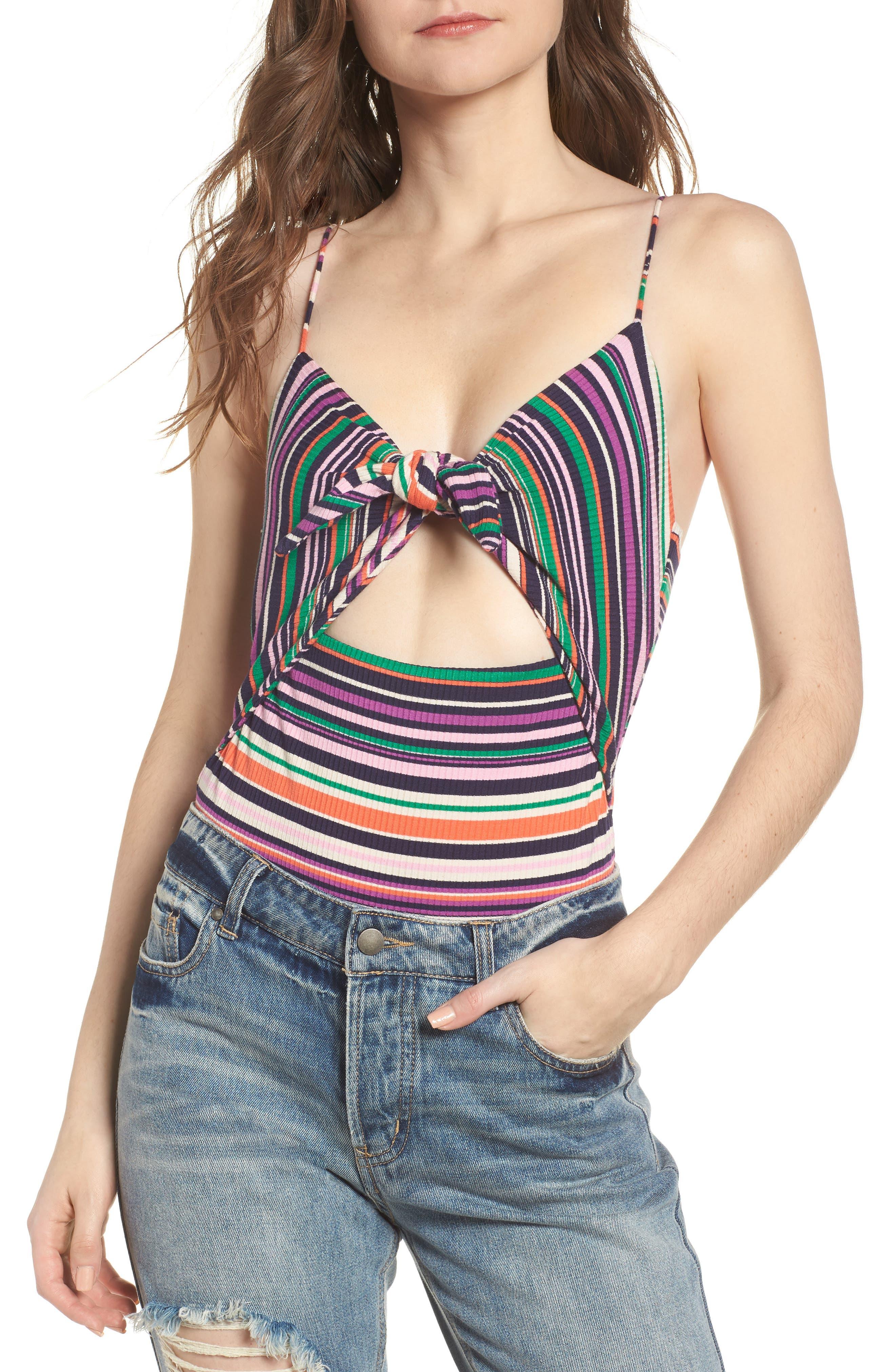 Brooks Cutout Thong Bodysuit,                         Main,                         color, Multi Stripe