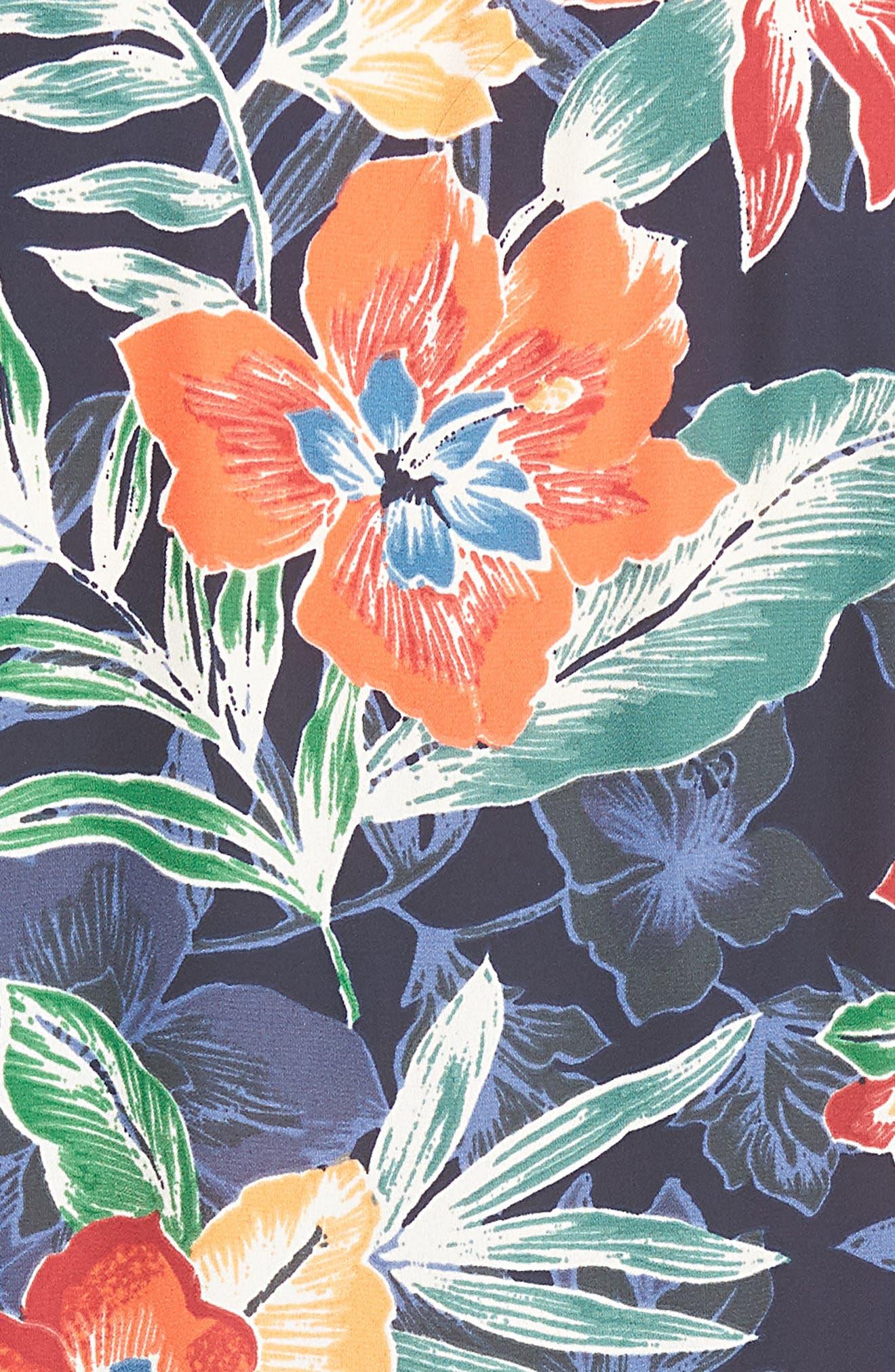 Tie Front Culotte Jumpsuit,                             Alternate thumbnail 6, color,                             Navy/ Multi