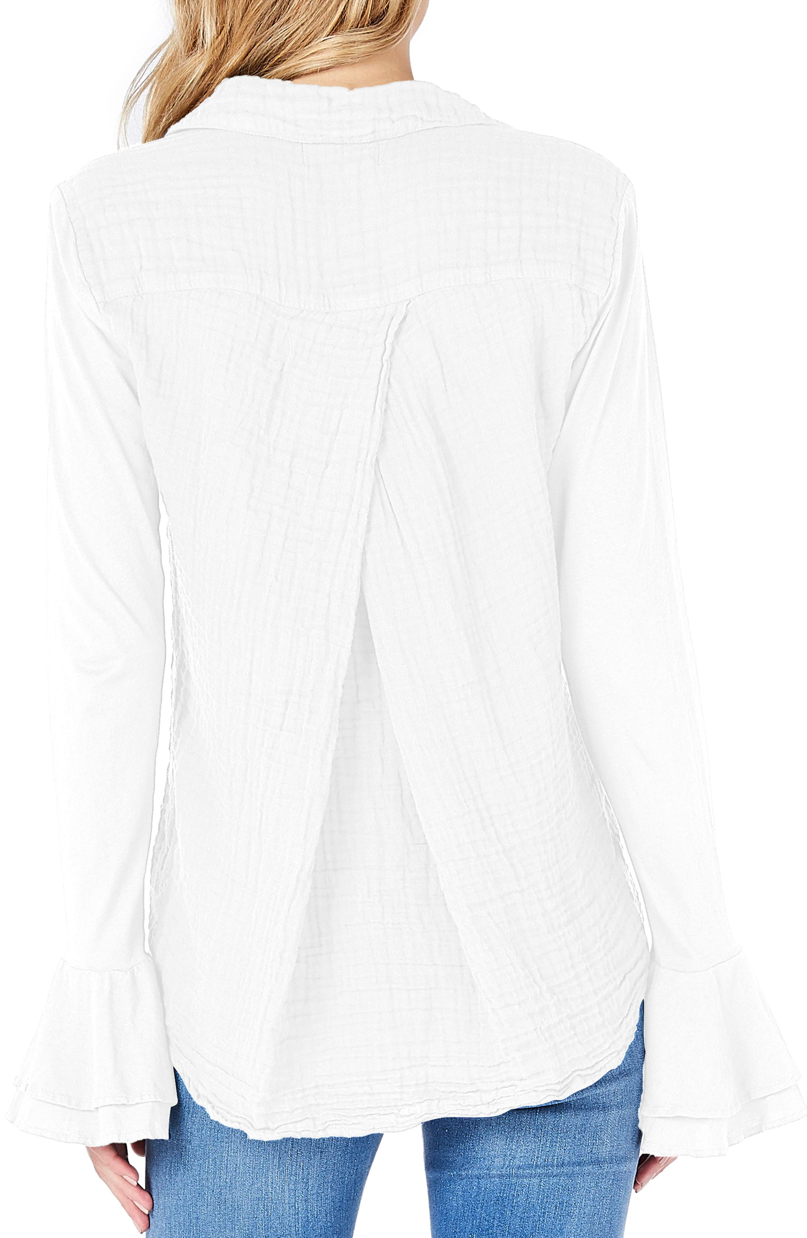 Ruffle Sleeve Shirt,                             Alternate thumbnail 2, color,                             White