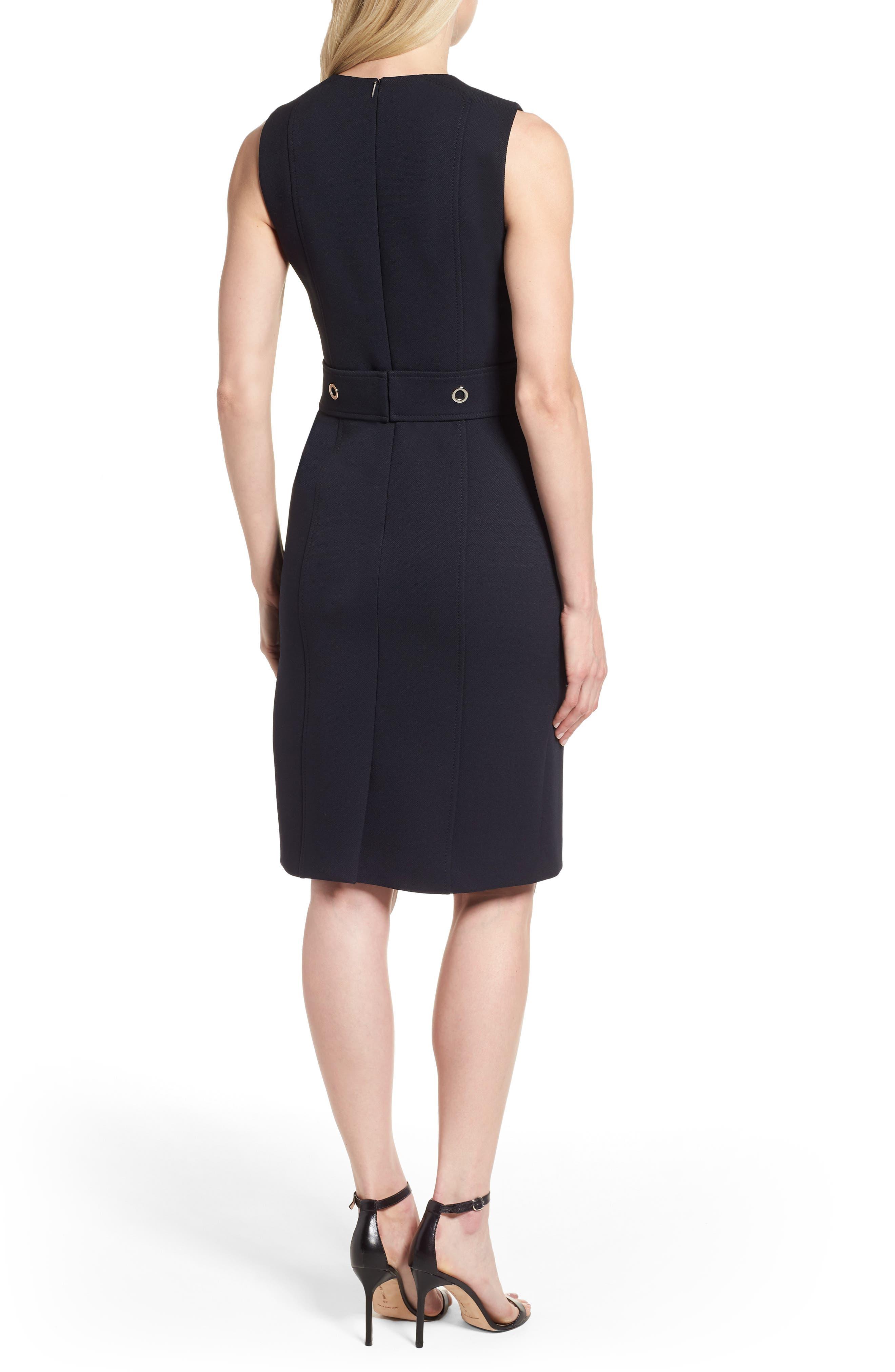 Duleama Belted Sheath Dress,                             Alternate thumbnail 2, color,                             Navy