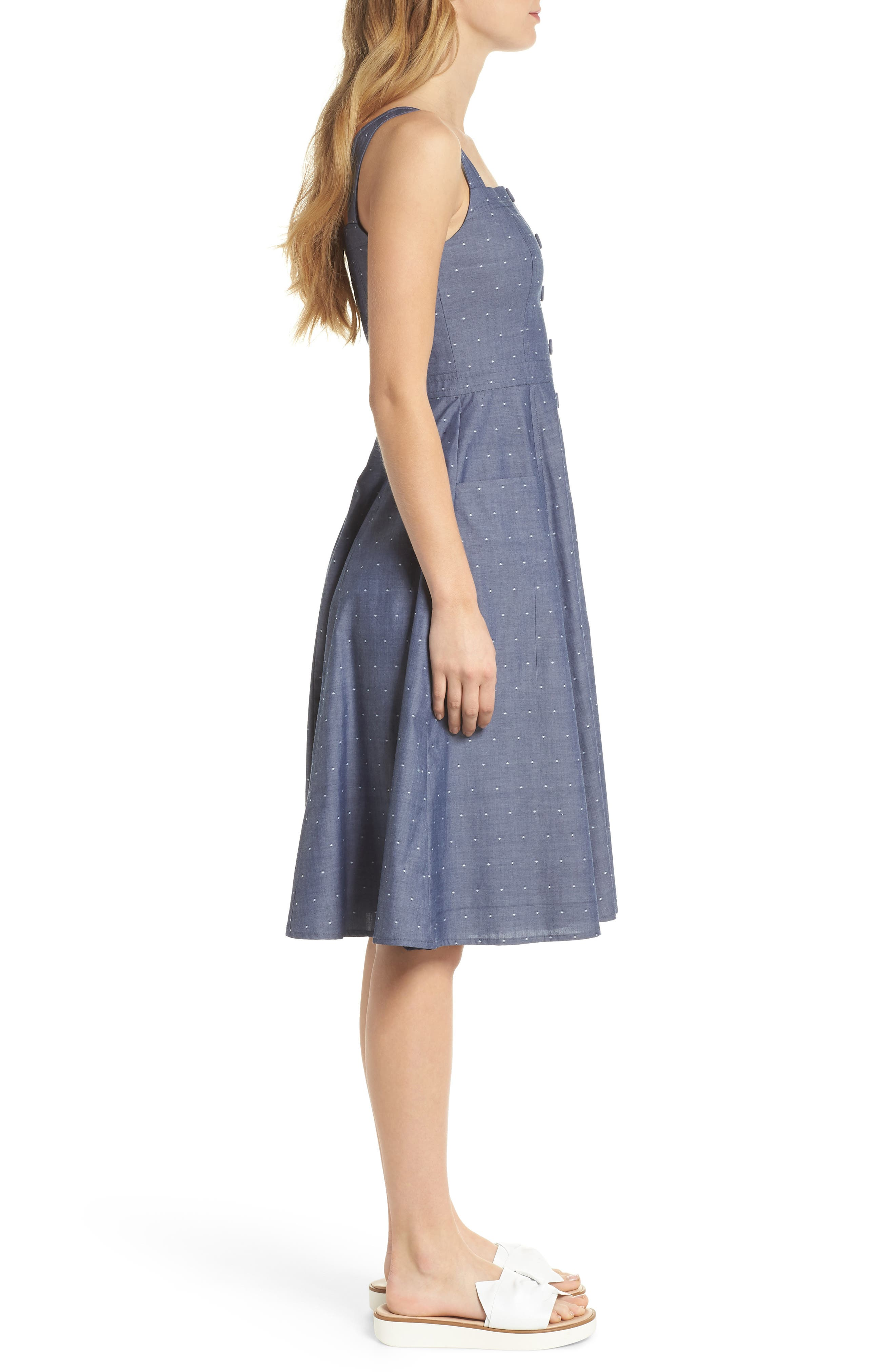 Riley Dot Chambray Fit & Flare Sundress,                             Alternate thumbnail 4, color,                             Chambray With White