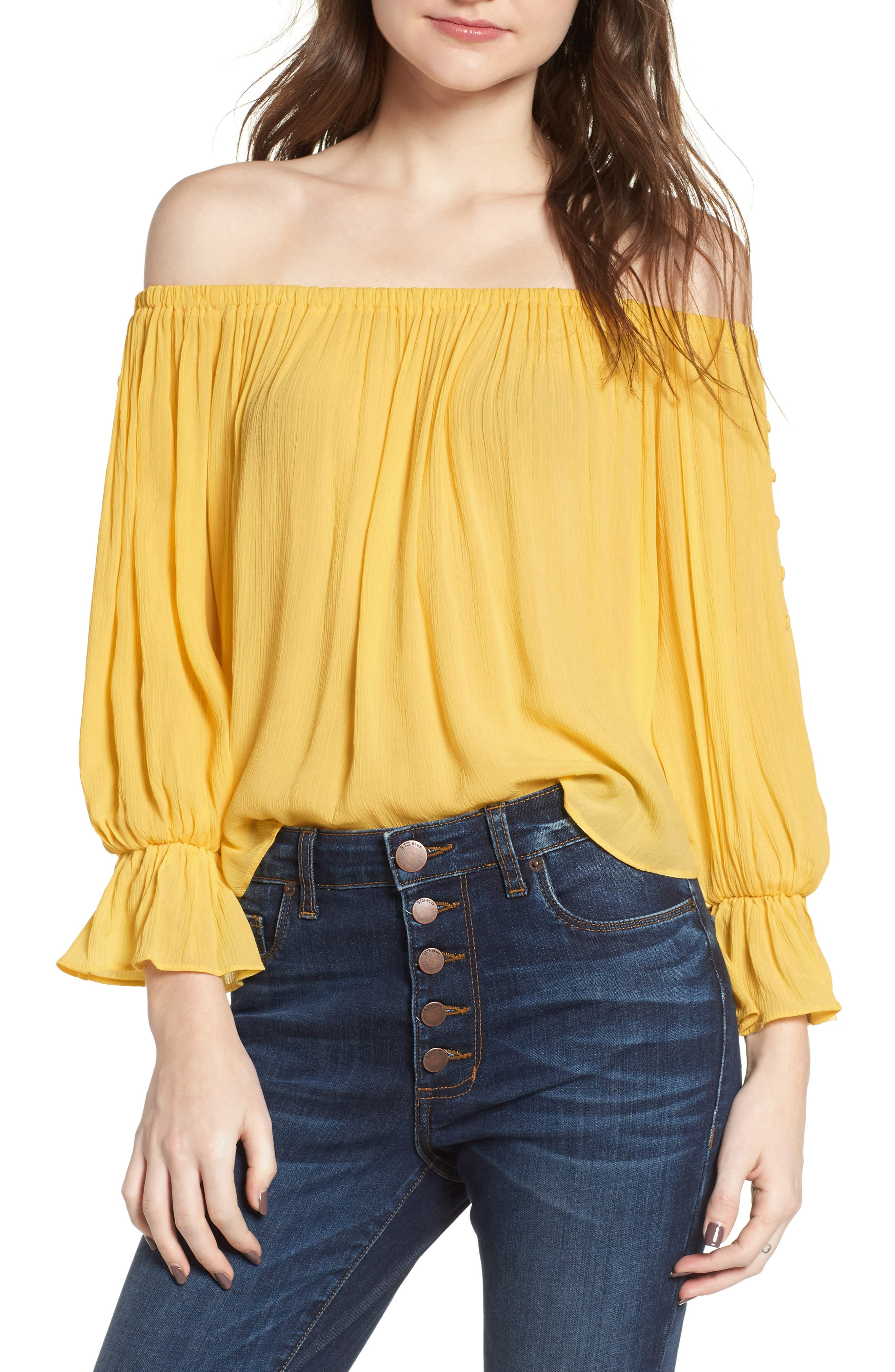 Button Sleeve Off the Shoulder Top,                         Main,                         color, Yellow