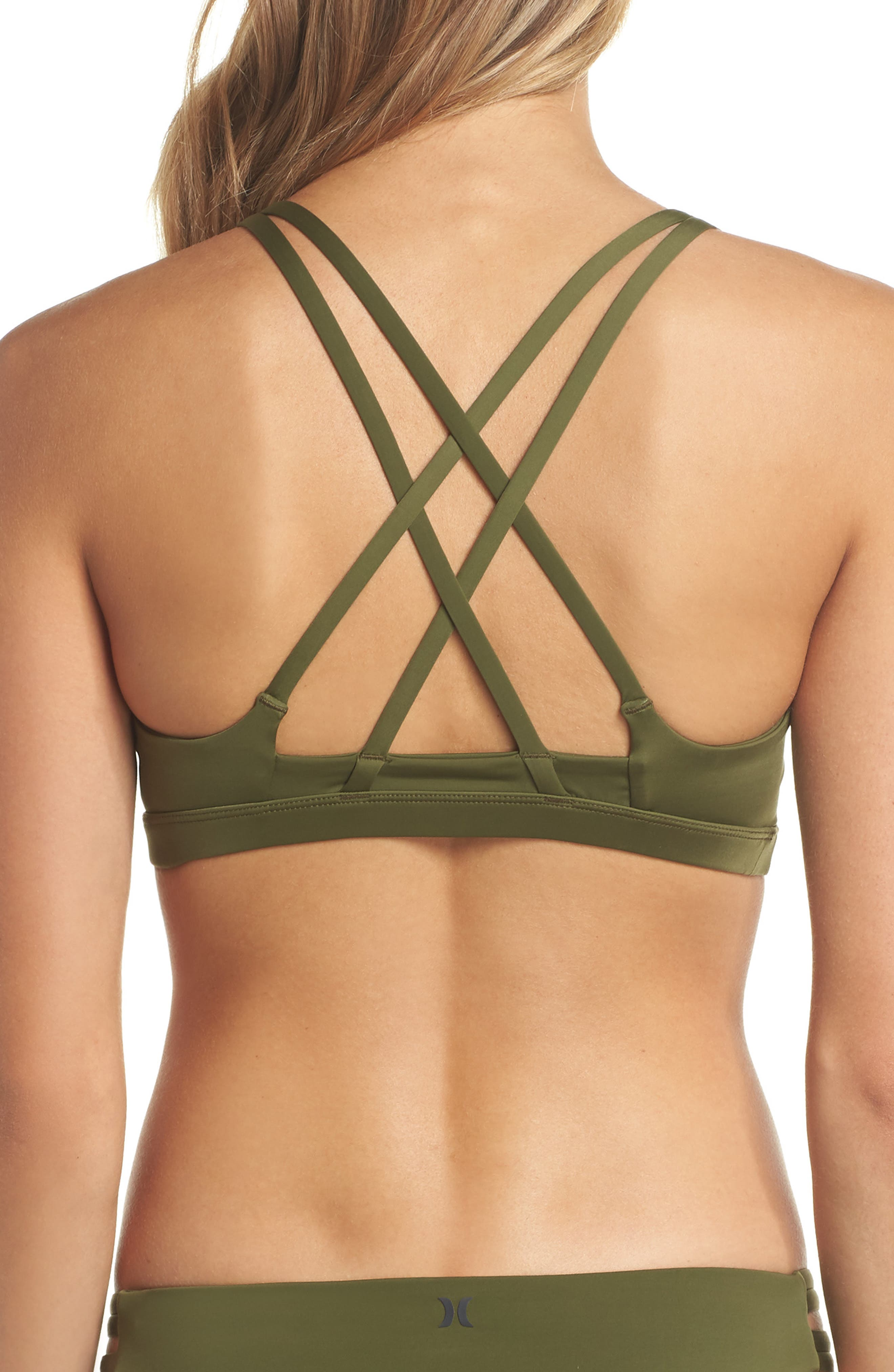 Quick Dry Max Surf Bikini Top,                             Alternate thumbnail 2, color,                             Olive Canvas