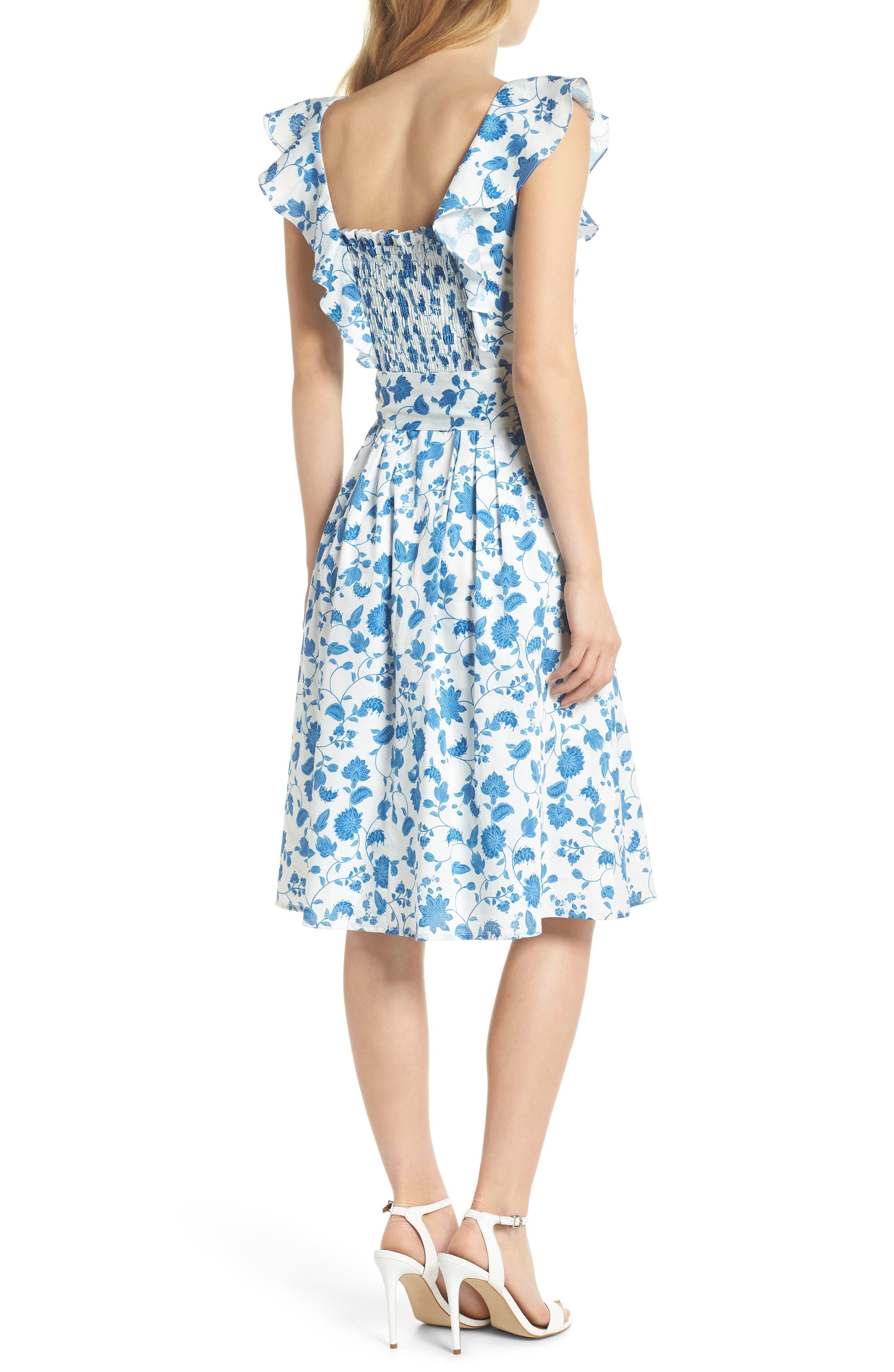 Olivia Floral Wallpaper Print Fit & Flare Dress,                             Alternate thumbnail 3, color,                             Cloud/ Blue