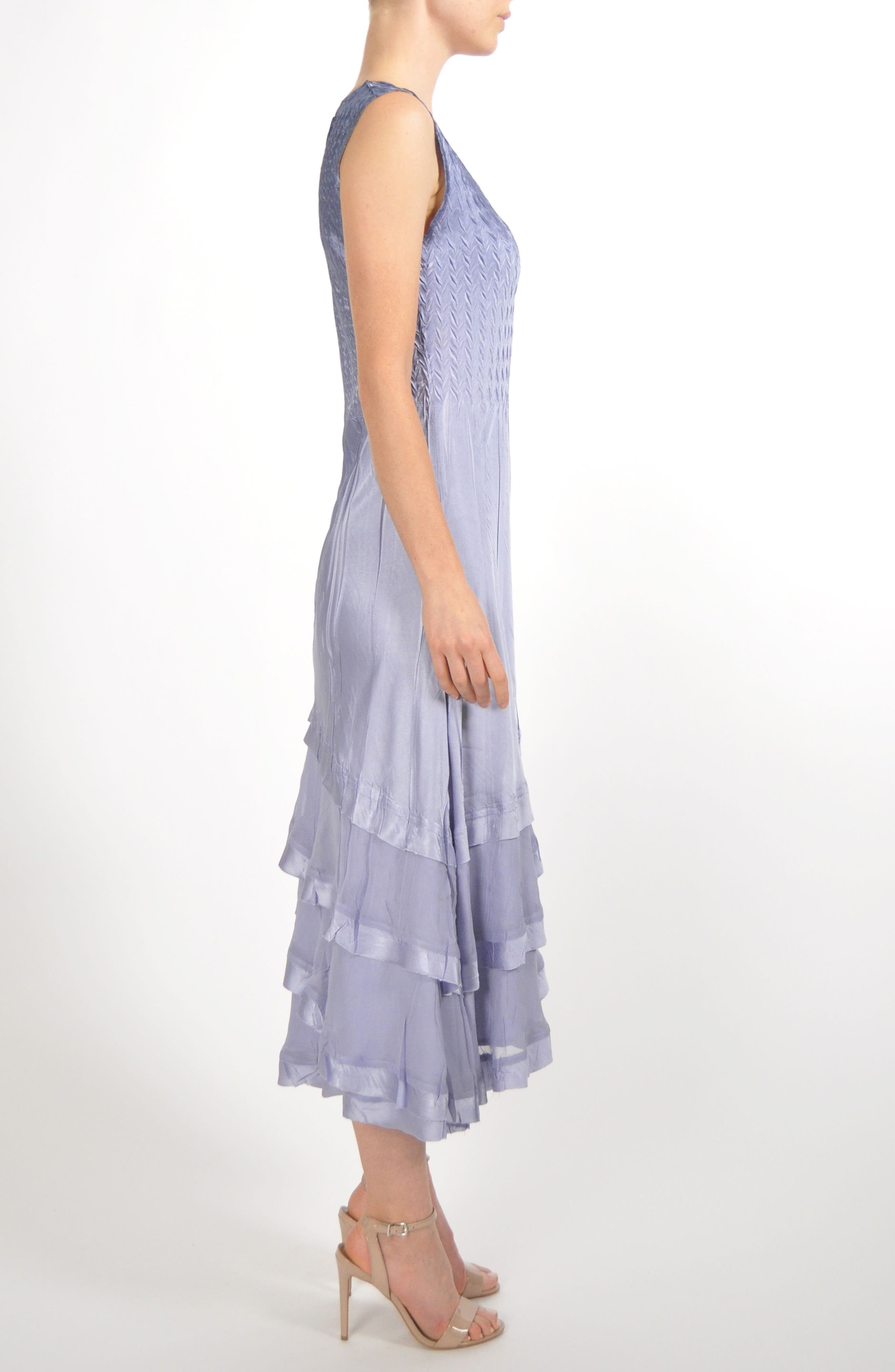 Charmeuse & Chiffon Tiered Hem Dress with Jacket,                             Alternate thumbnail 5, color,                             Lavender Grey Blue Ombre