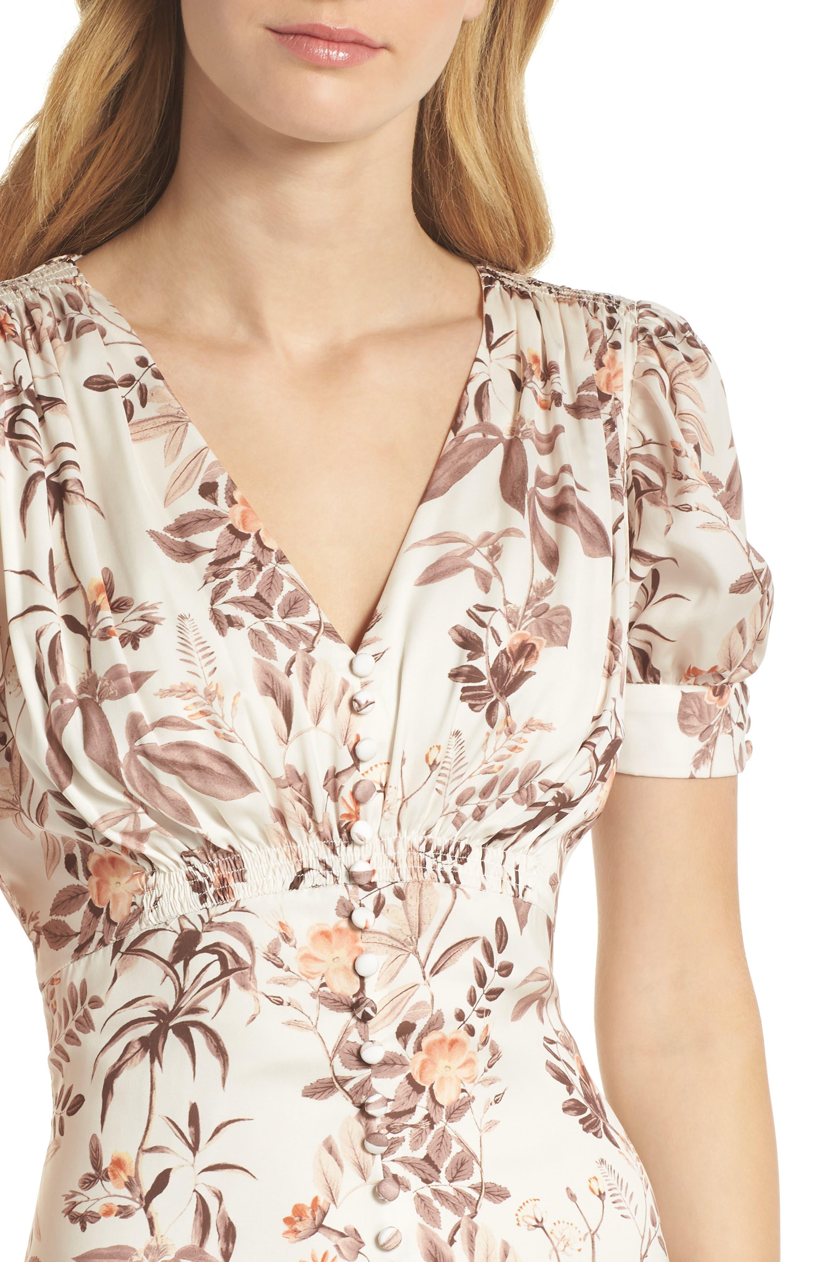 Lauren Botanical Garden Print Midi Dress,                             Alternate thumbnail 6, color,                             Beige/ Orange