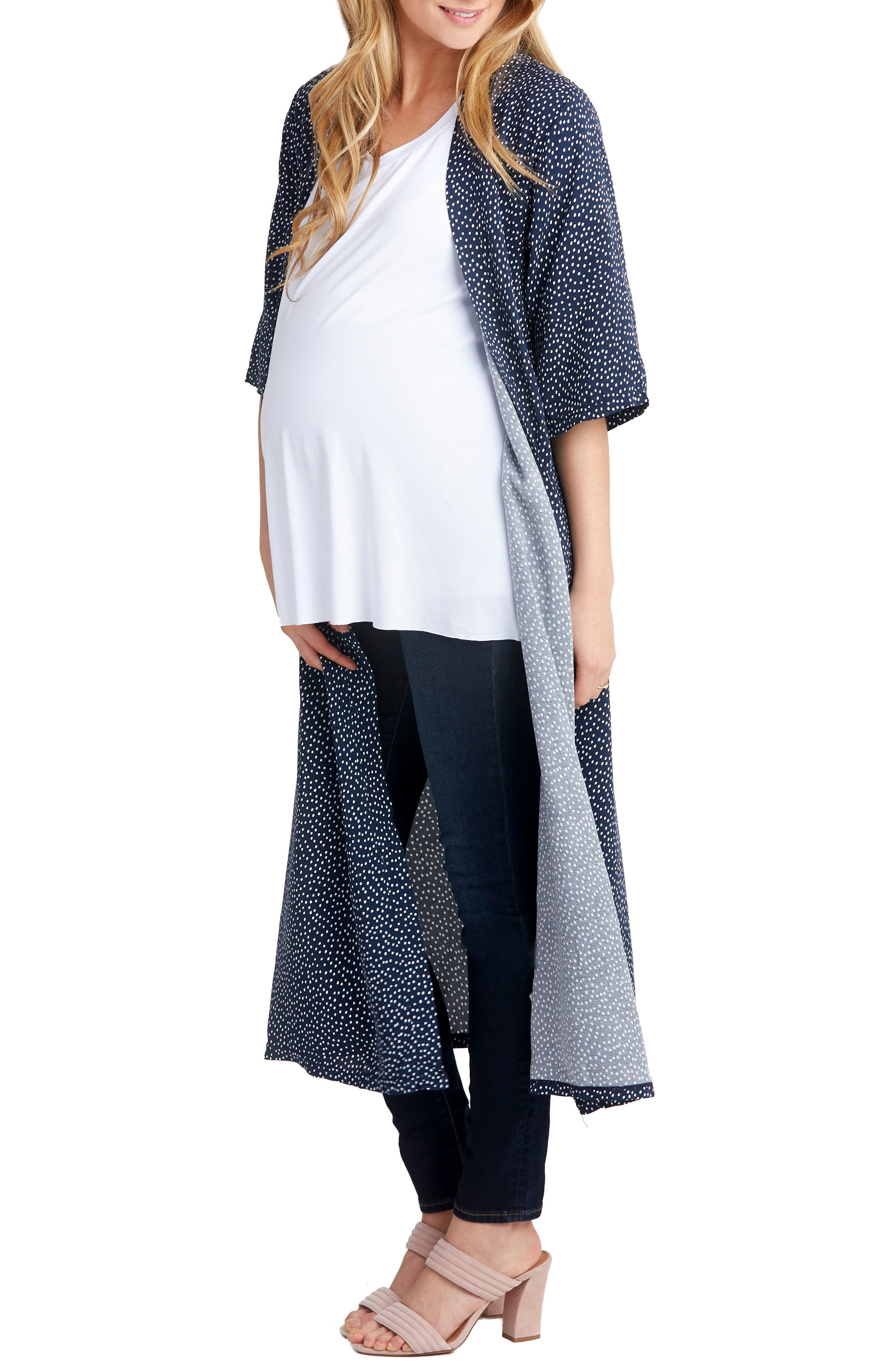 Draper Maternity Robe,                             Alternate thumbnail 3, color,                             Dot