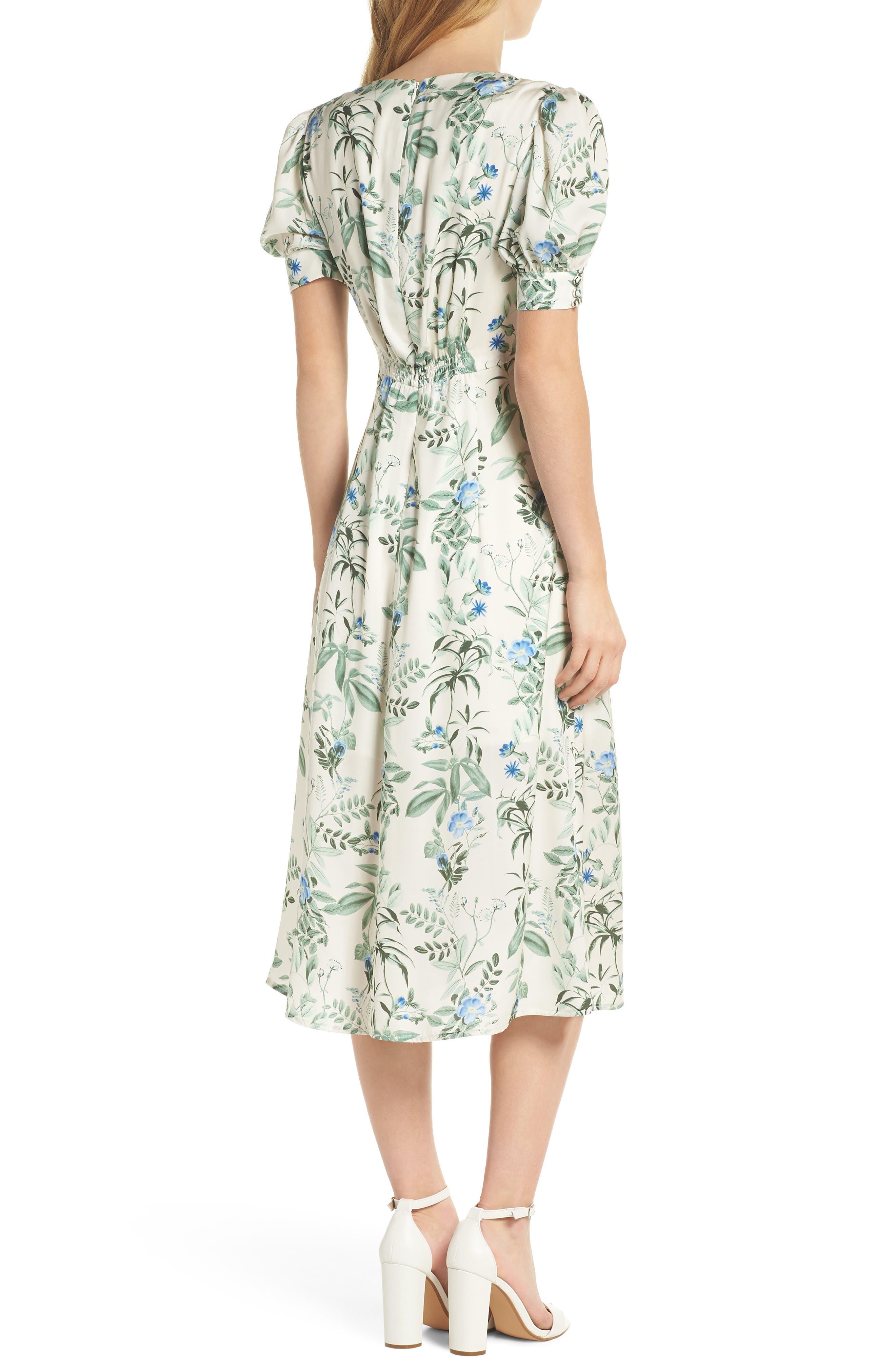 Lauren Botanical Garden Print Midi Dress,                             Alternate thumbnail 3, color,                             Bone/ Blue