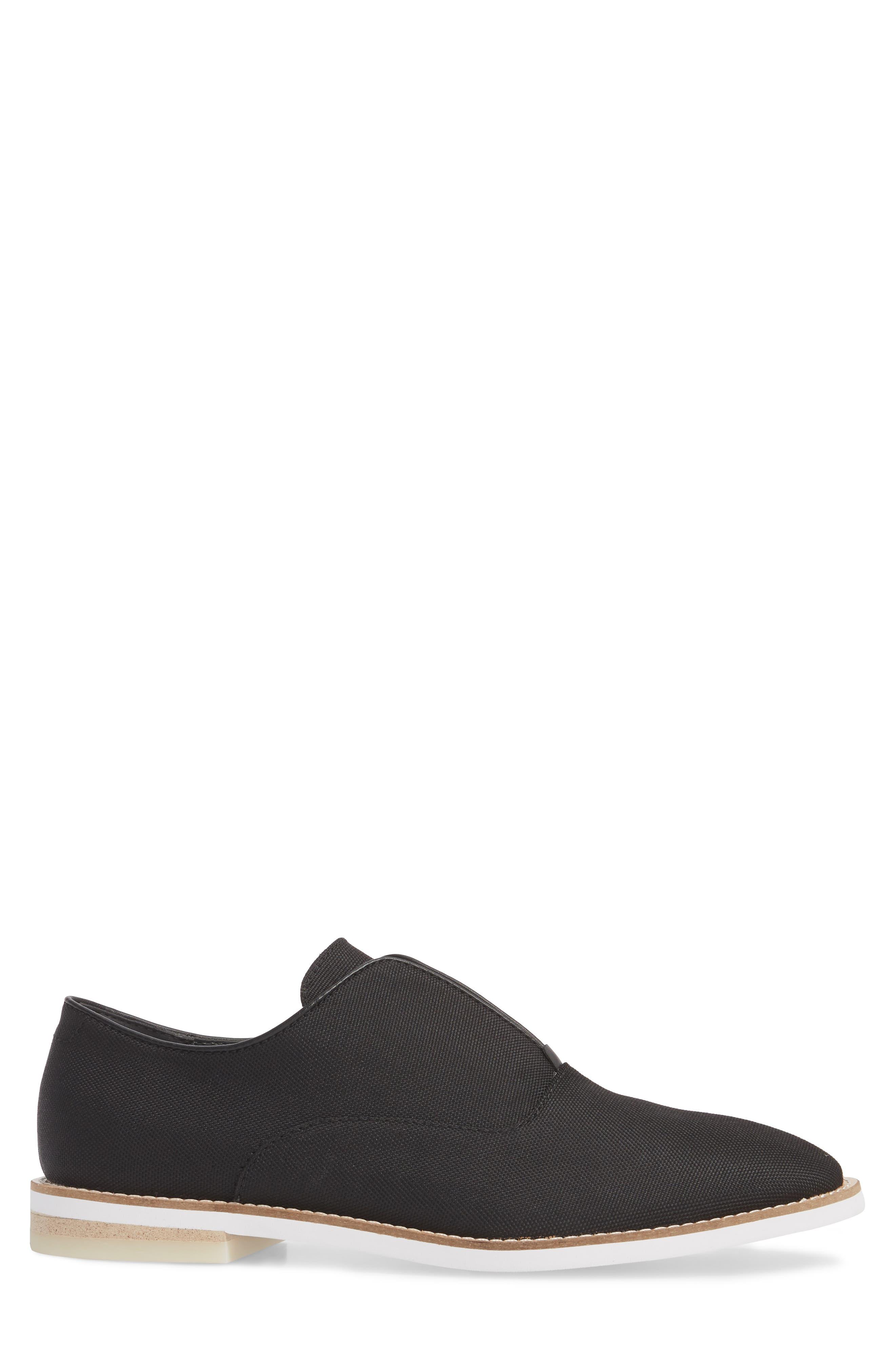 Auston Laceless Wingtip Oxford,                             Alternate thumbnail 3, color,                             Black Nylon