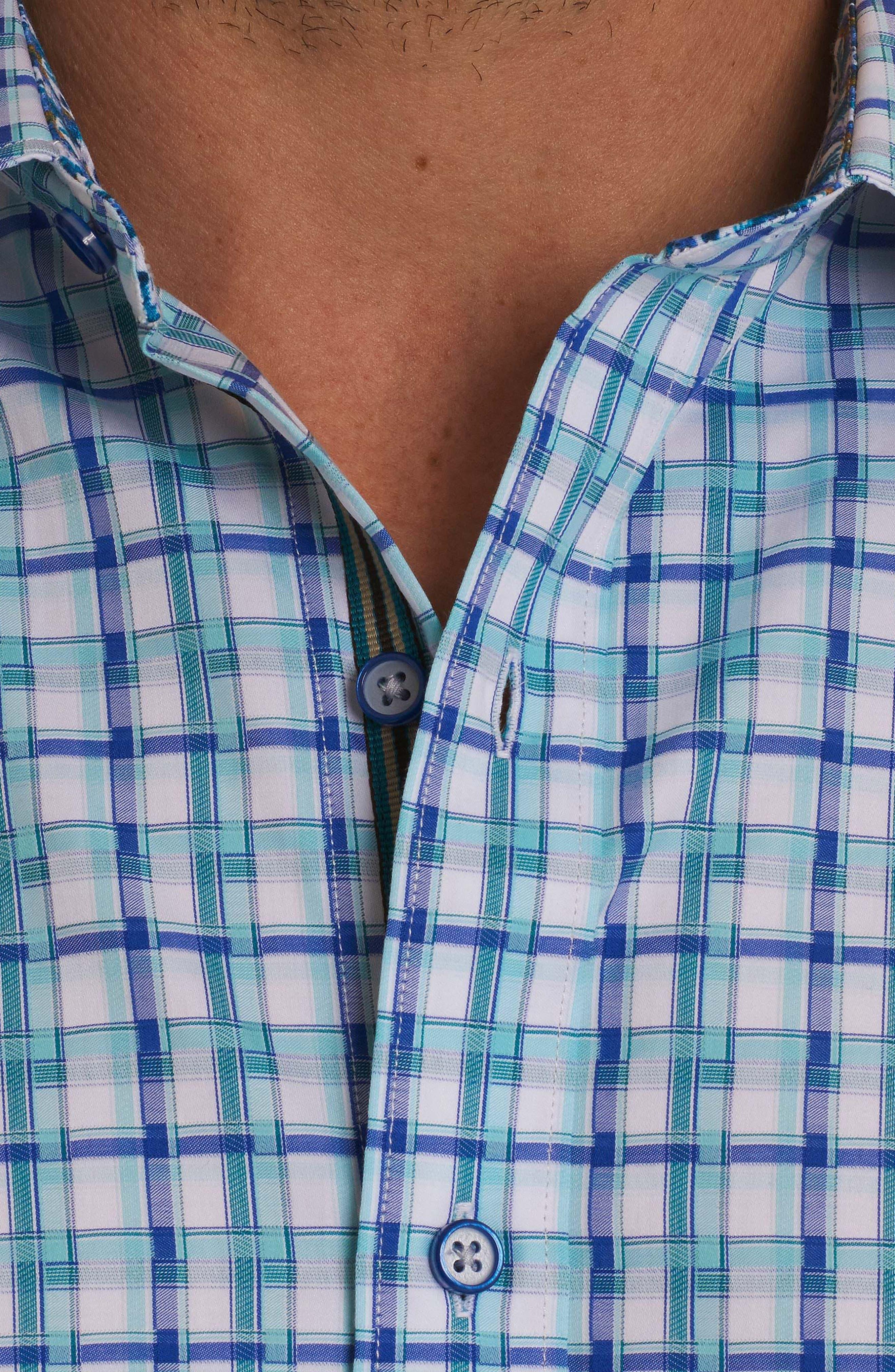Grouper Classic Fit Geo Sport Shirt,                             Alternate thumbnail 3, color,                             Teal