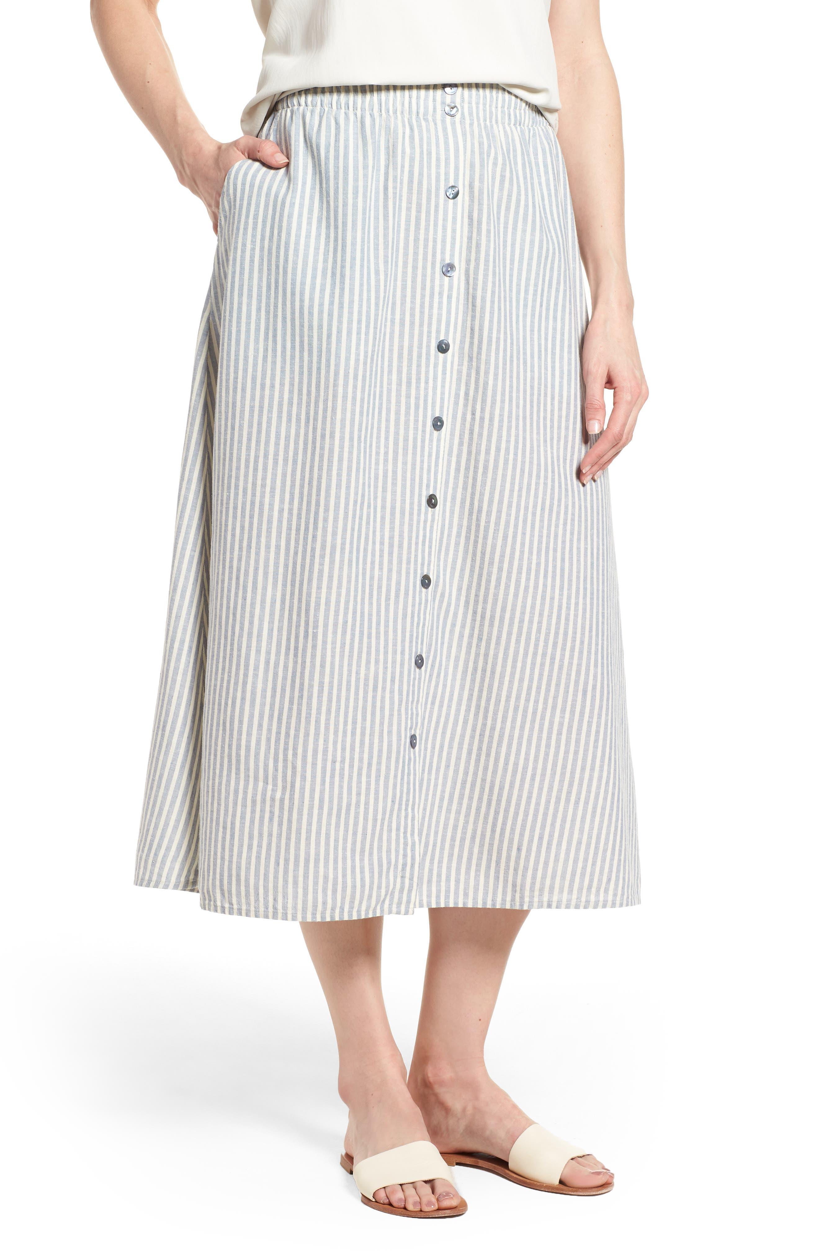 Eileen Fisher Stripe Hemp & Organic Cotton Midi Skirt