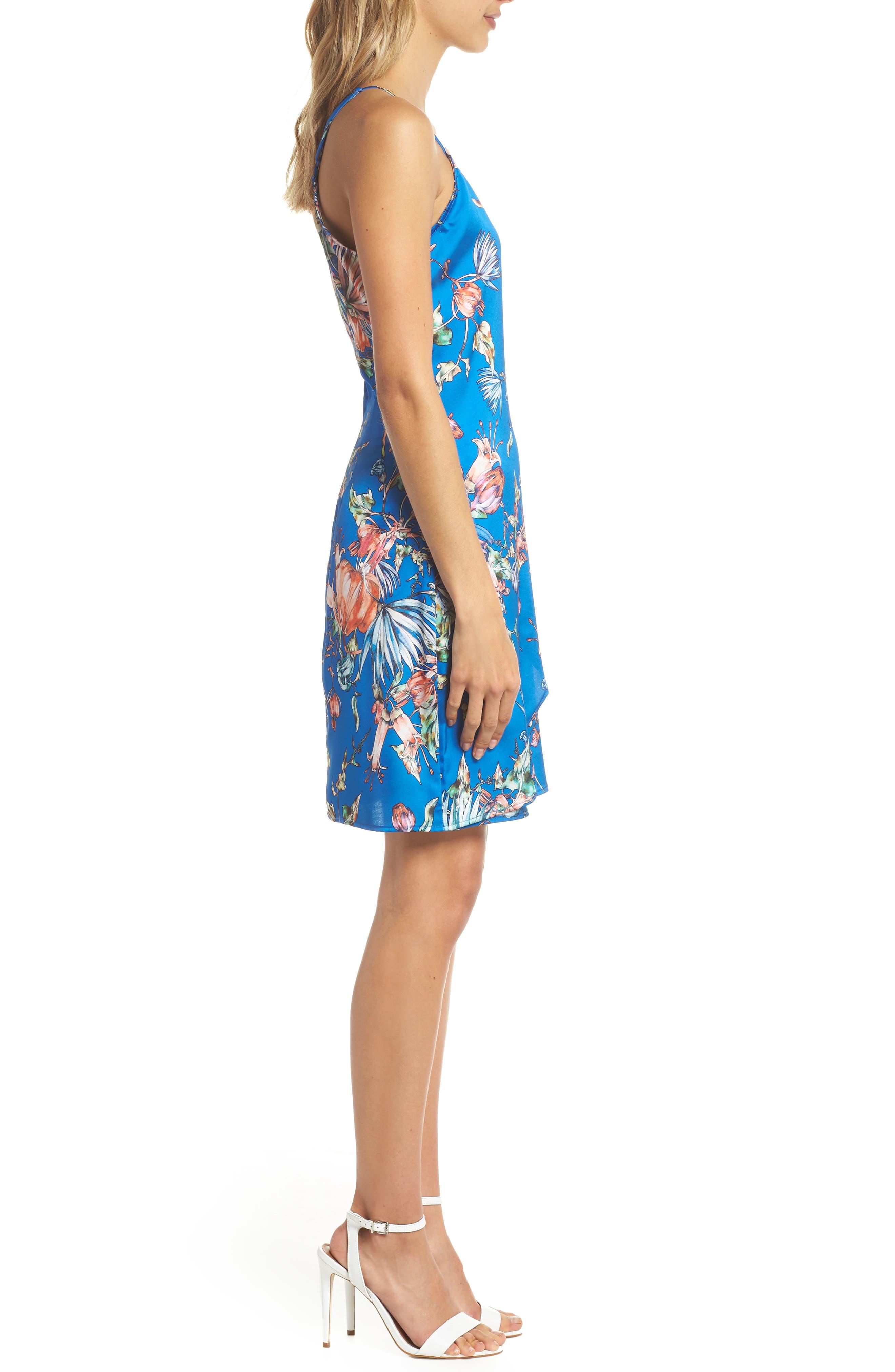 Floral Print Satin Faux Wrap Dress,                             Alternate thumbnail 3, color,                             Royal
