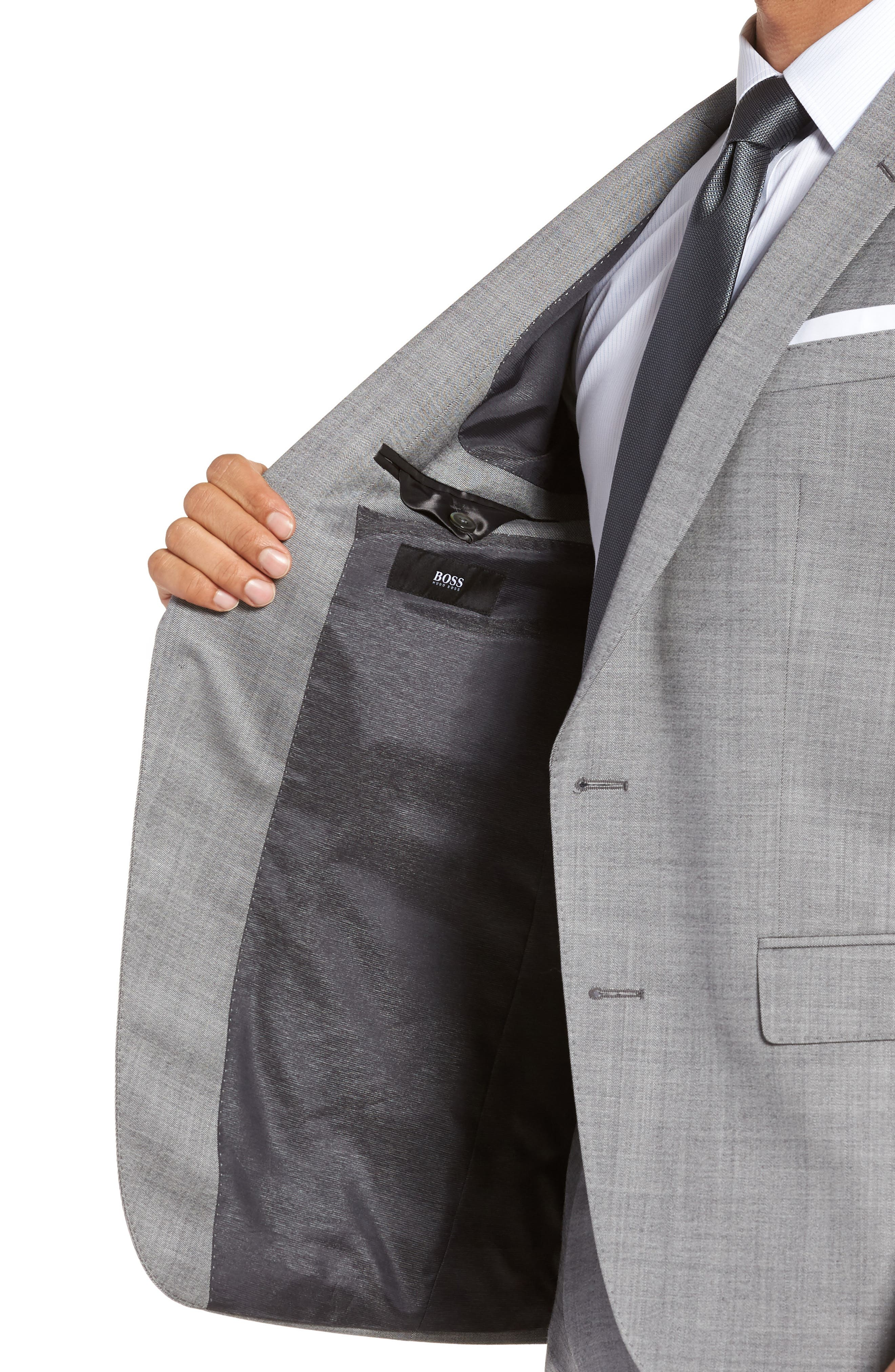 Hutsons/Gander Trim Fit Solid Wool & Silk Suit,                             Alternate thumbnail 4, color,                             Light Grey