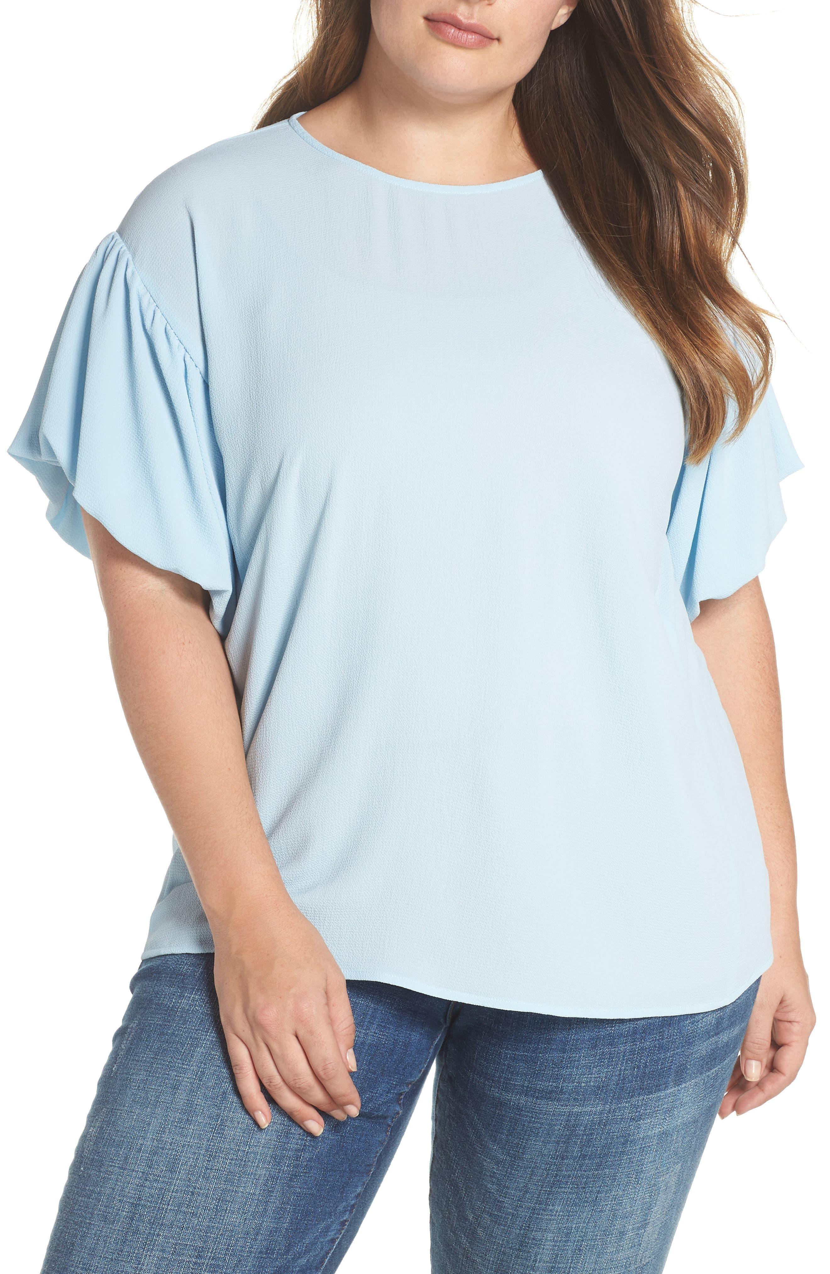 Bubble Sleeve Blouse,                         Main,                         color, Dew Blue
