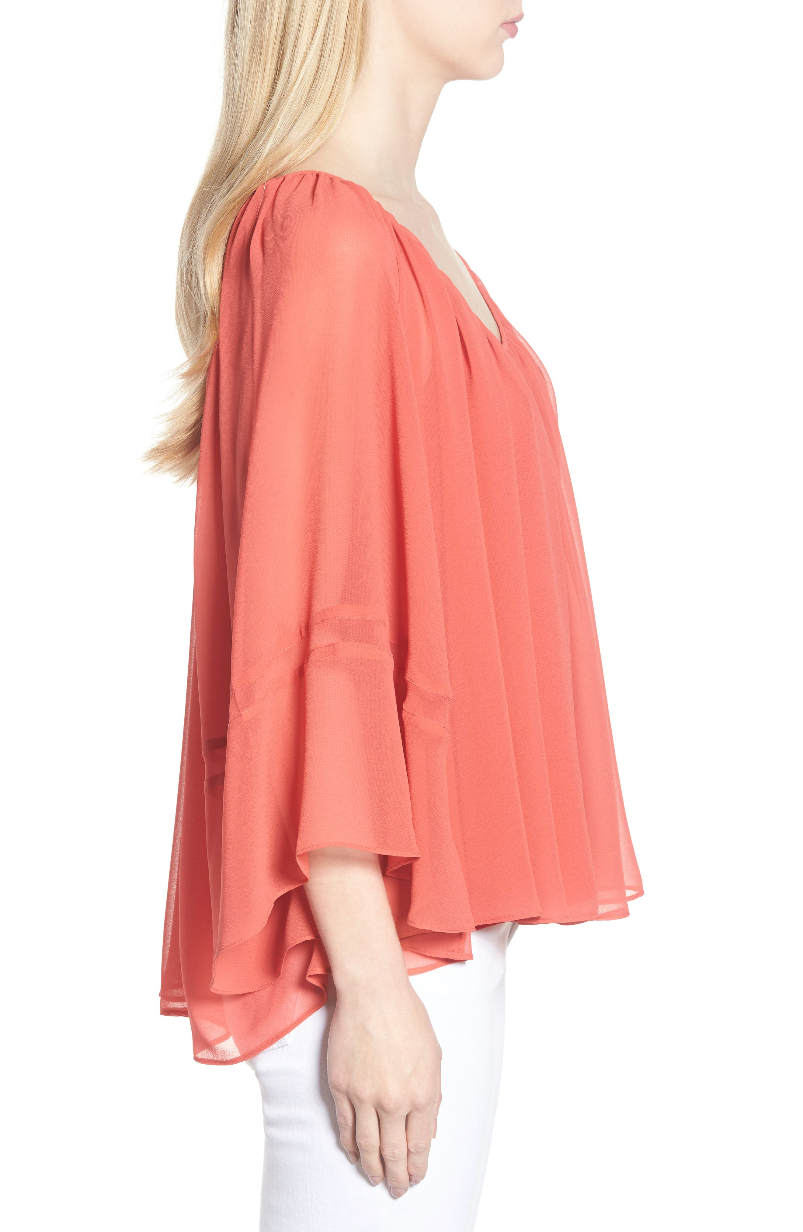 Flowy Chiffon Top,                             Alternate thumbnail 3, color,                             Red Cranberry