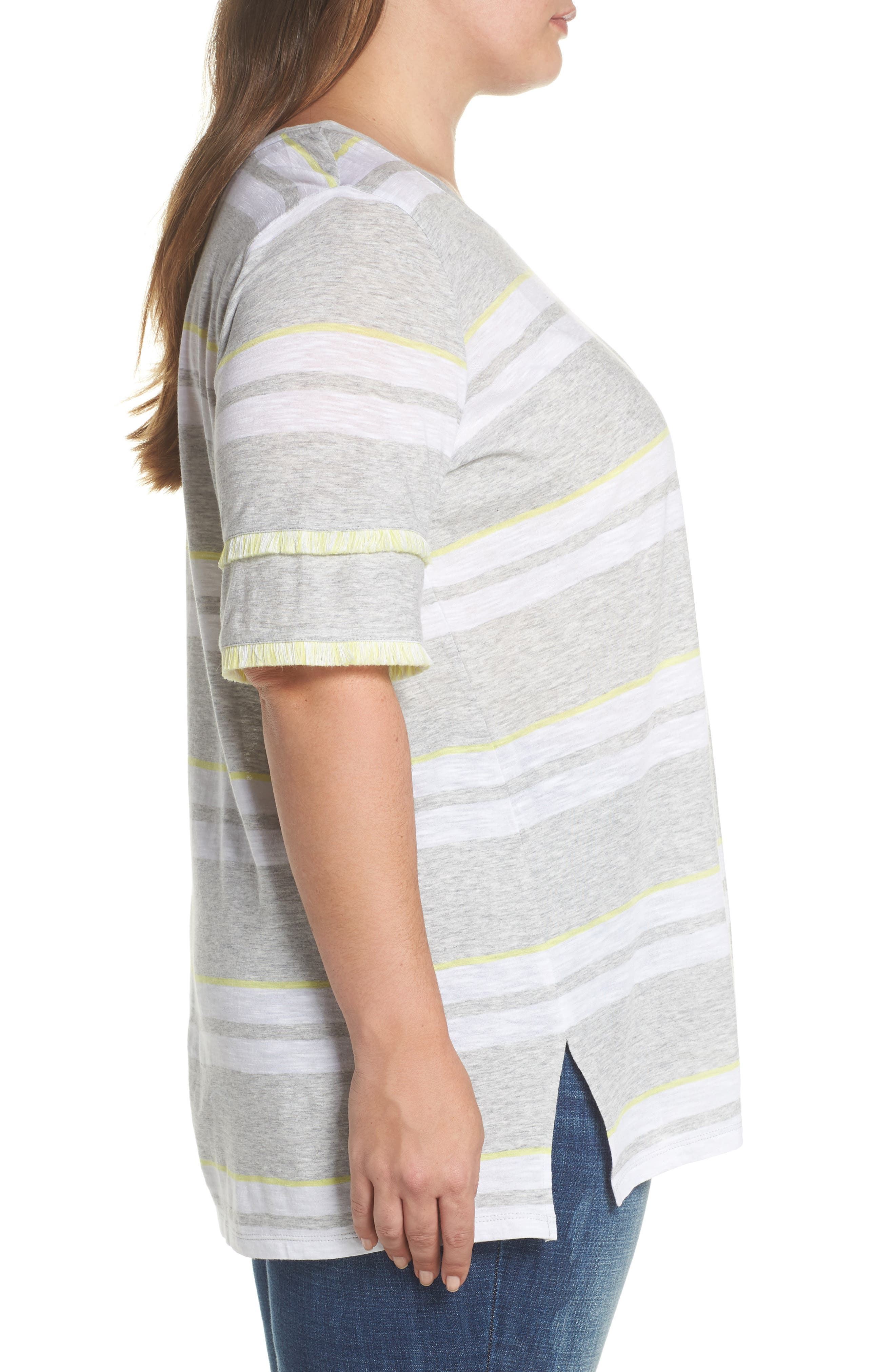 Fringe Sleeve Stadium Stripe Top,                             Alternate thumbnail 3, color,                             Grey Heather