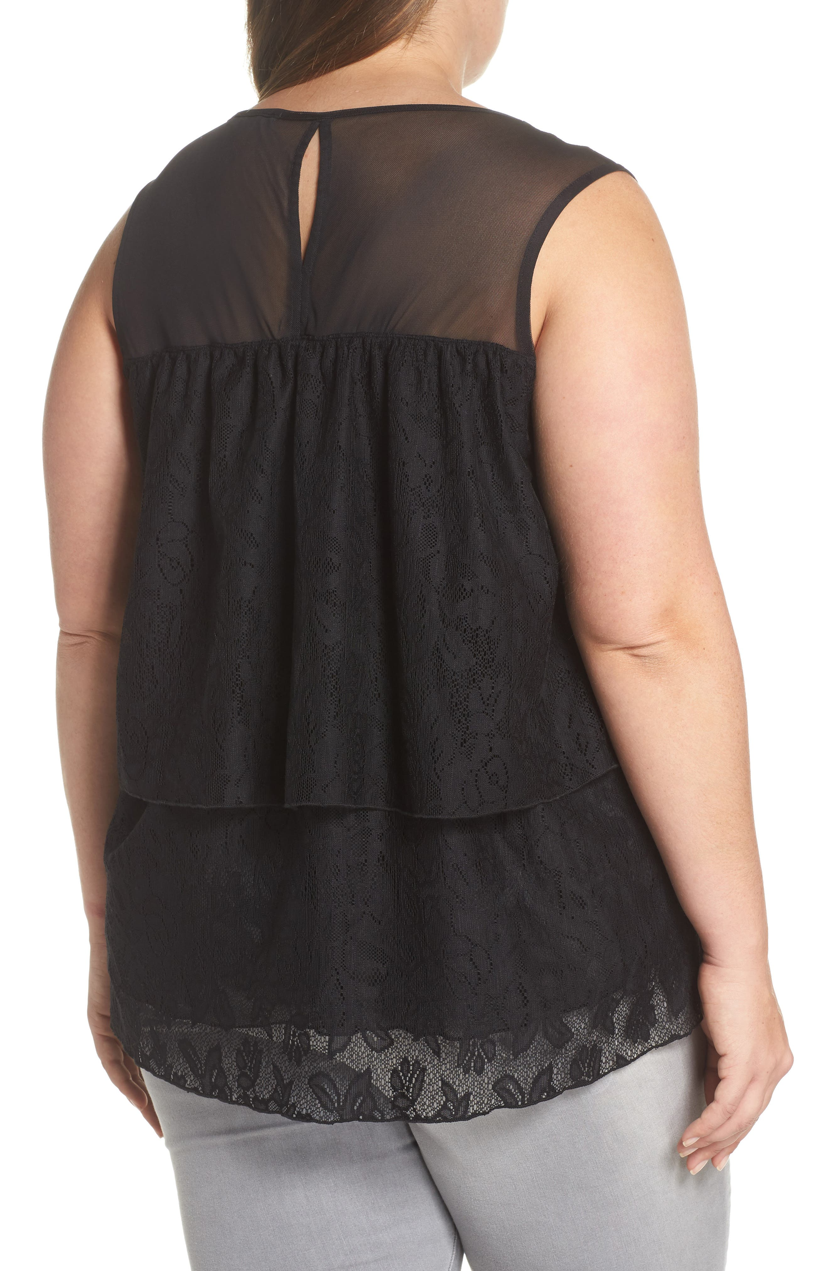 Lace Tier Top,                             Alternate thumbnail 2, color,                             Black
