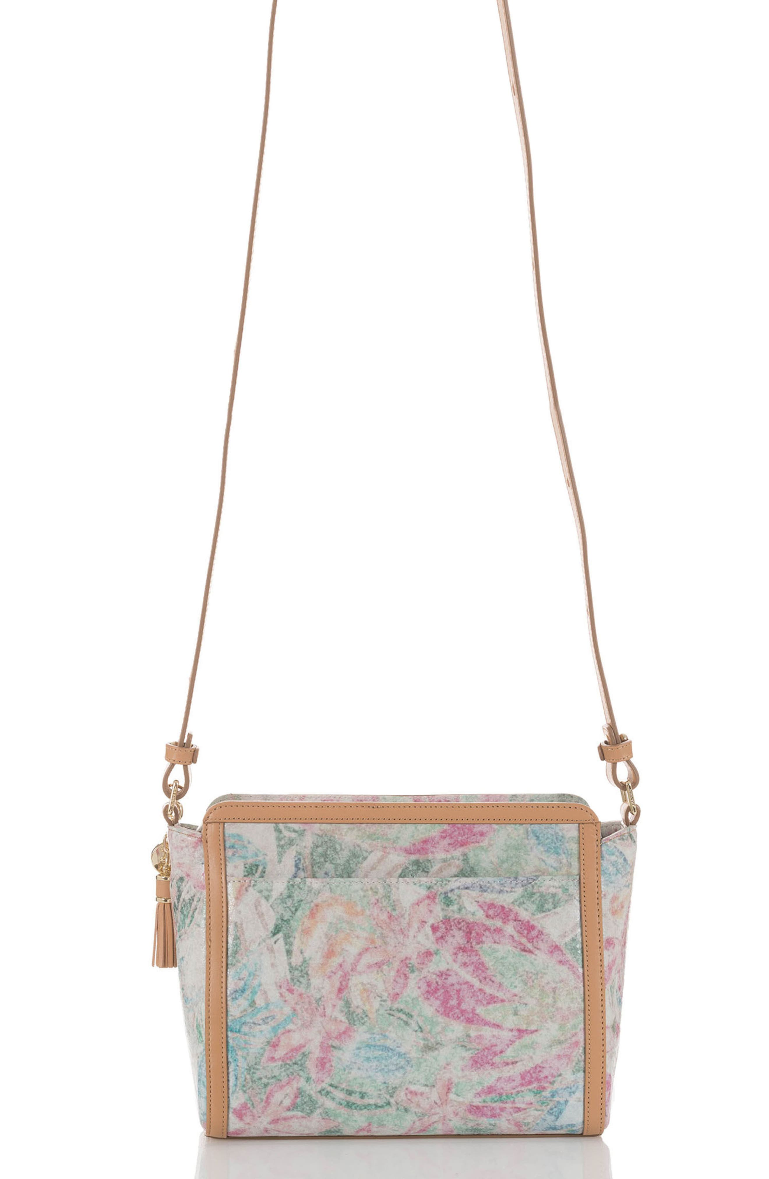 Floral Carrie Leather Crossbody Bag,                             Alternate thumbnail 2, color,                             Creme