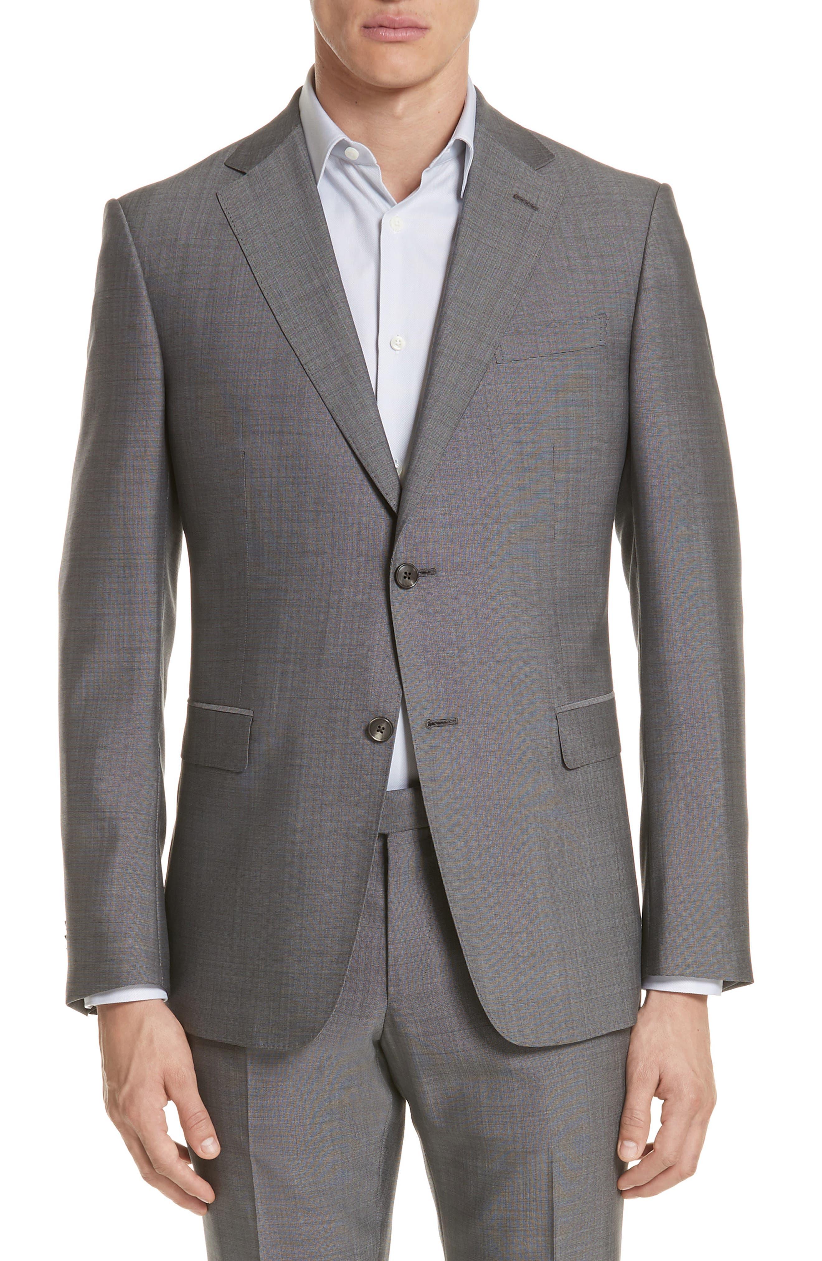 Trim Fit Solid Wool & Silk Suit,                             Alternate thumbnail 5, color,                             Grey