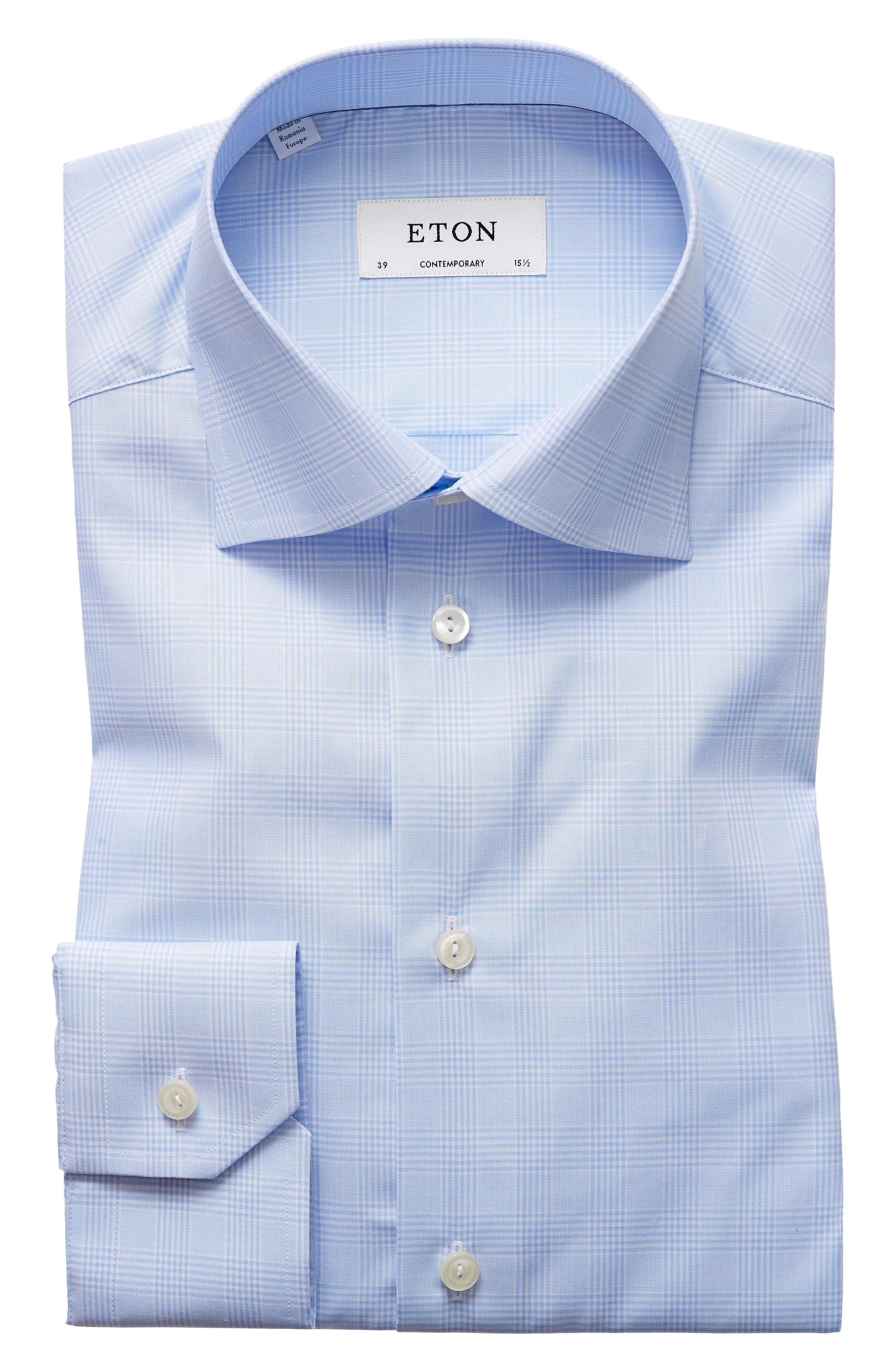 Main Image - Eton Contemporary Fit Plaid Dress Shirt