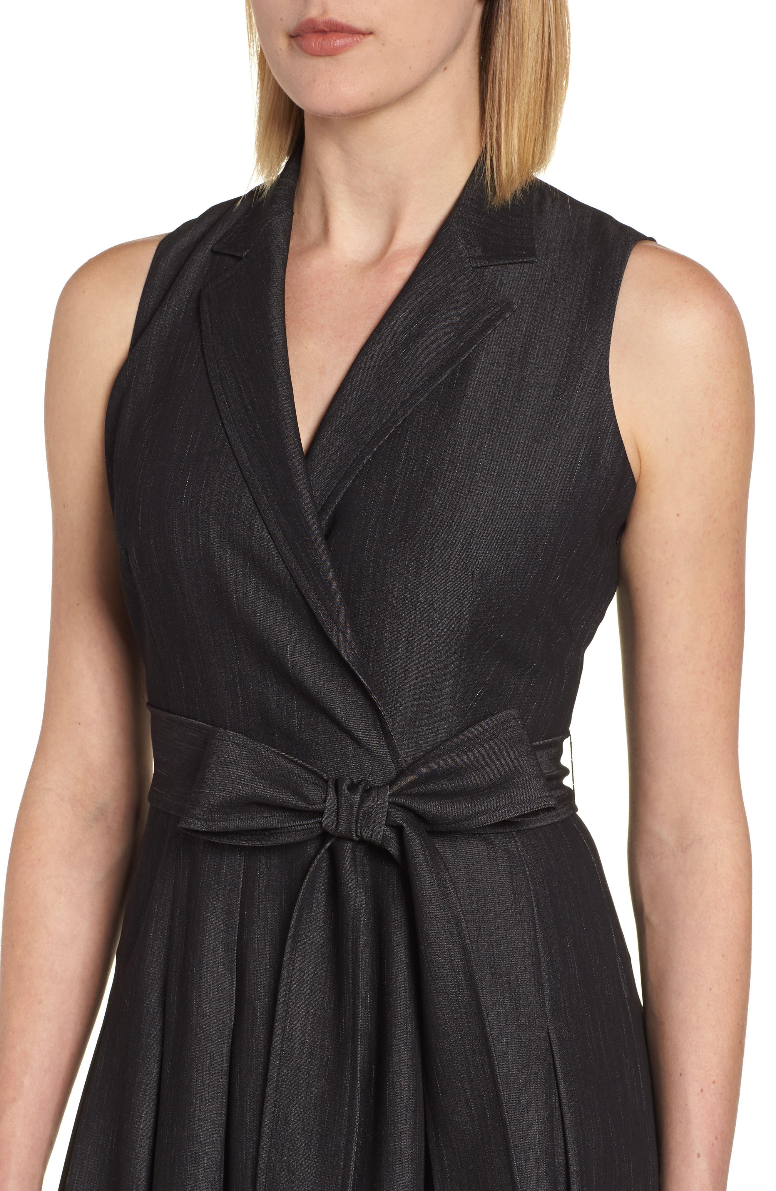 Notch Collar Stretch Denim Dress,                             Alternate thumbnail 4, color,                             Black