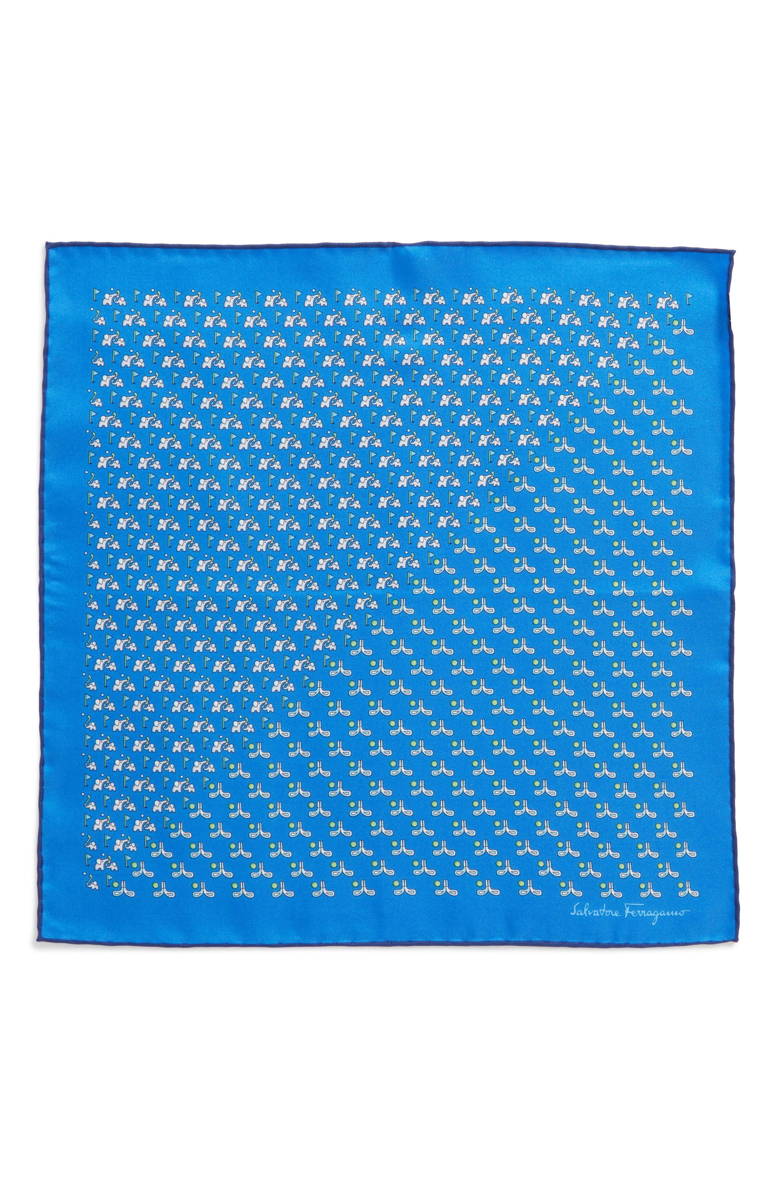 Golf Print Silk Pocket Square,                             Alternate thumbnail 3, color,                             Royal Blue