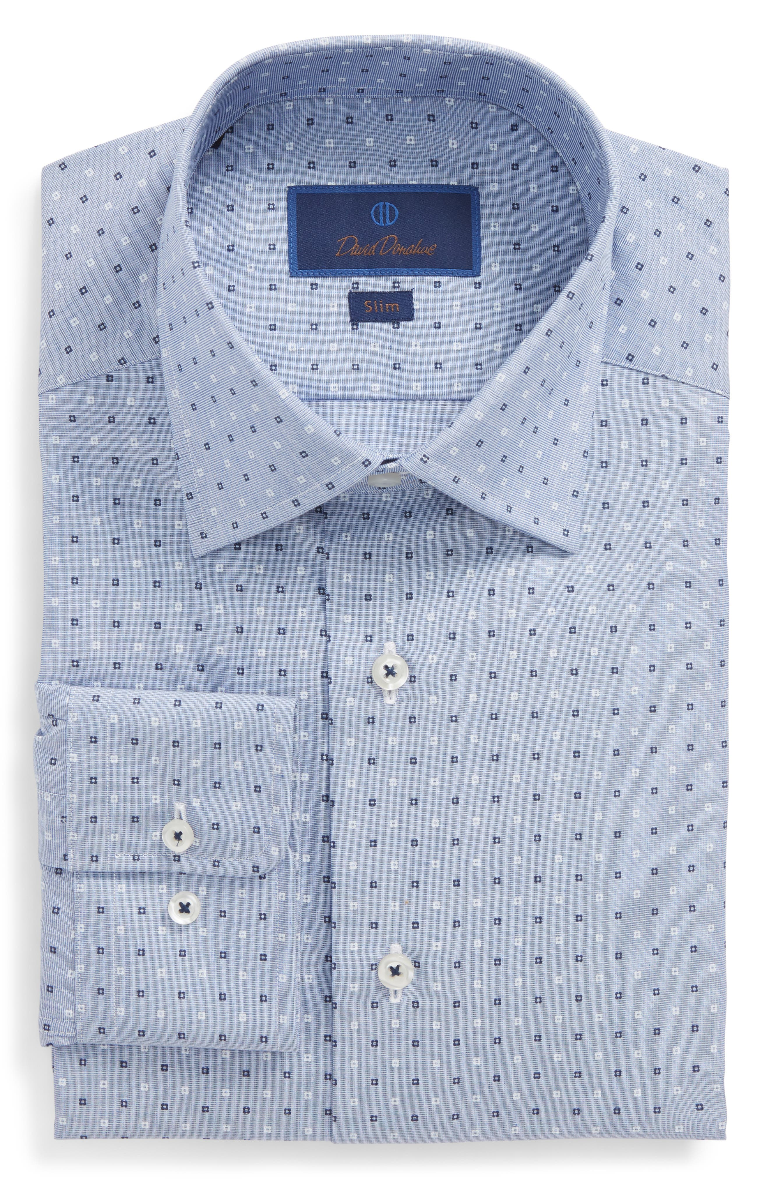 Slim Fit Dot Dress Shirt,                         Main,                         color, Blue