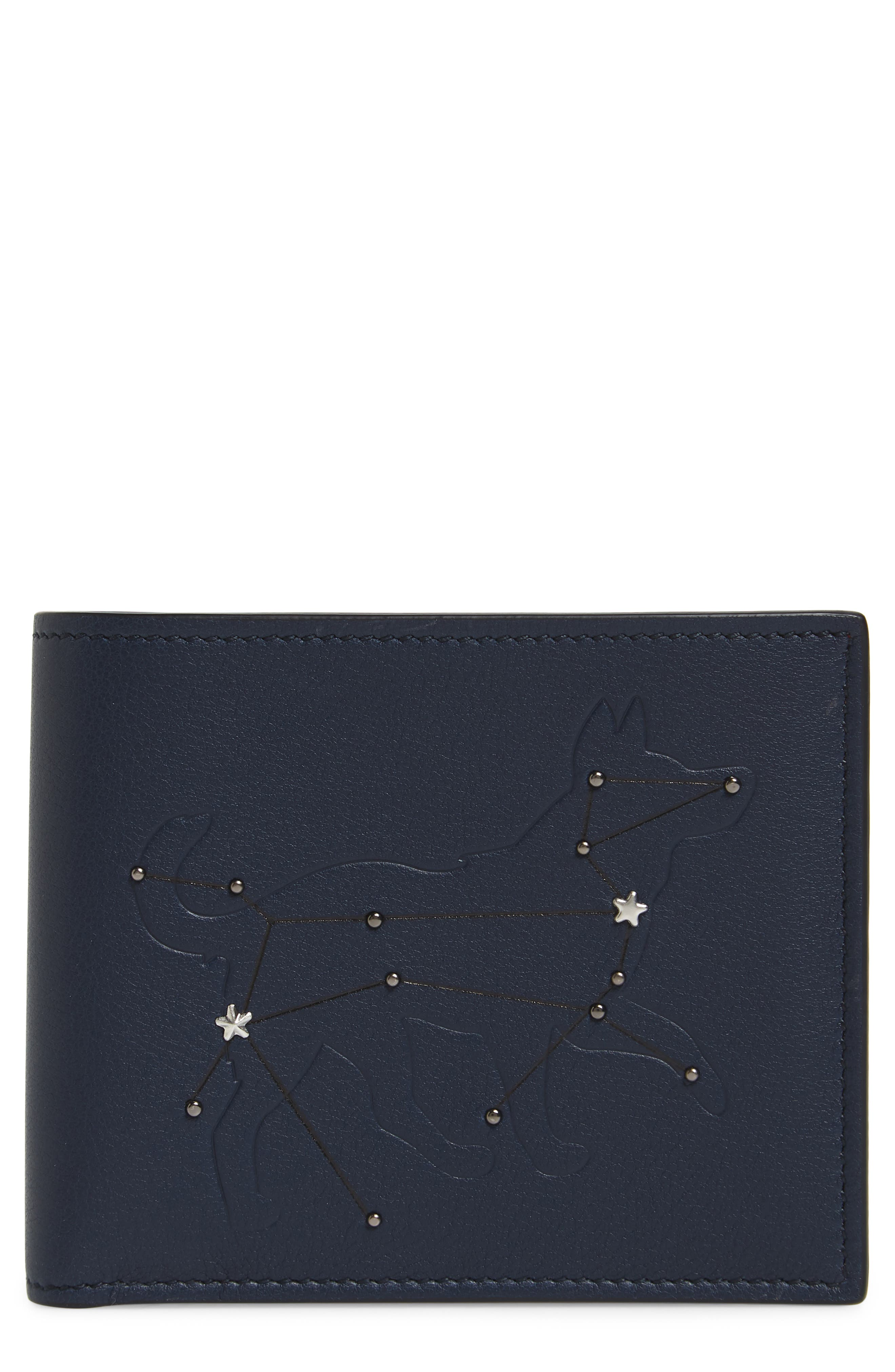 Carne Chinese New Year Studded Leather Wallet,                         Main,                         color, Navy