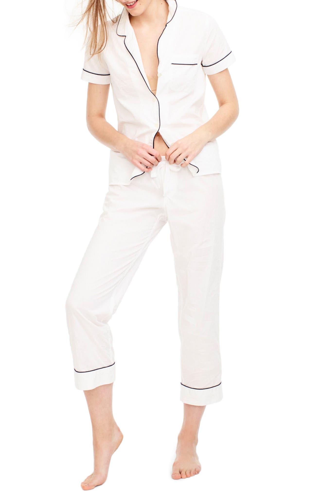 J.Crew Vintage Cotton Pajamas,                             Main thumbnail 1, color,                             White