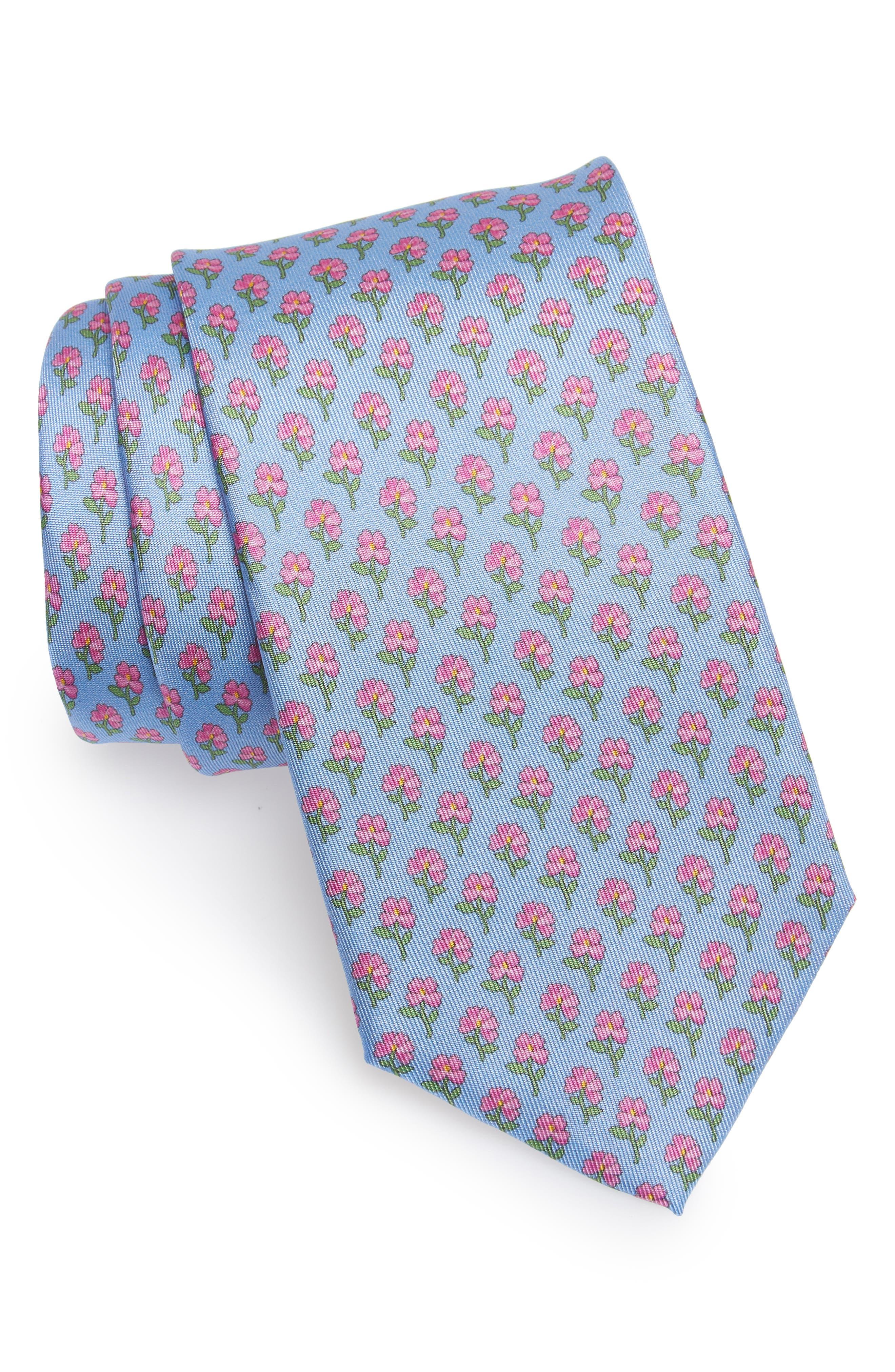 Crescent Floral Print Silk Tie,                             Main thumbnail 1, color,                             Airy Blue