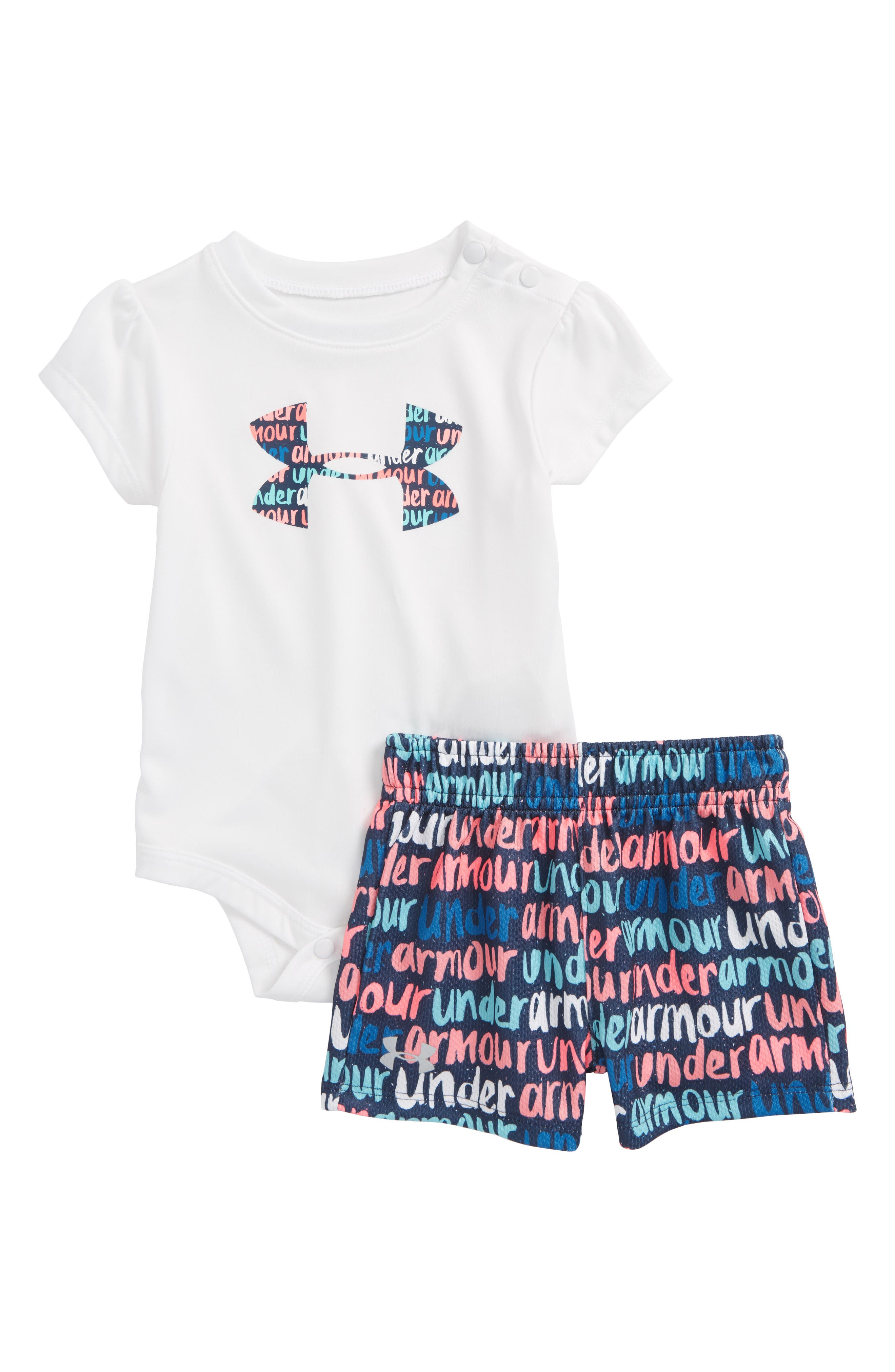 Under Armour Brushmark Logo HeatGear® Bodysuit & Mesh Shorts Set (Baby Girls)