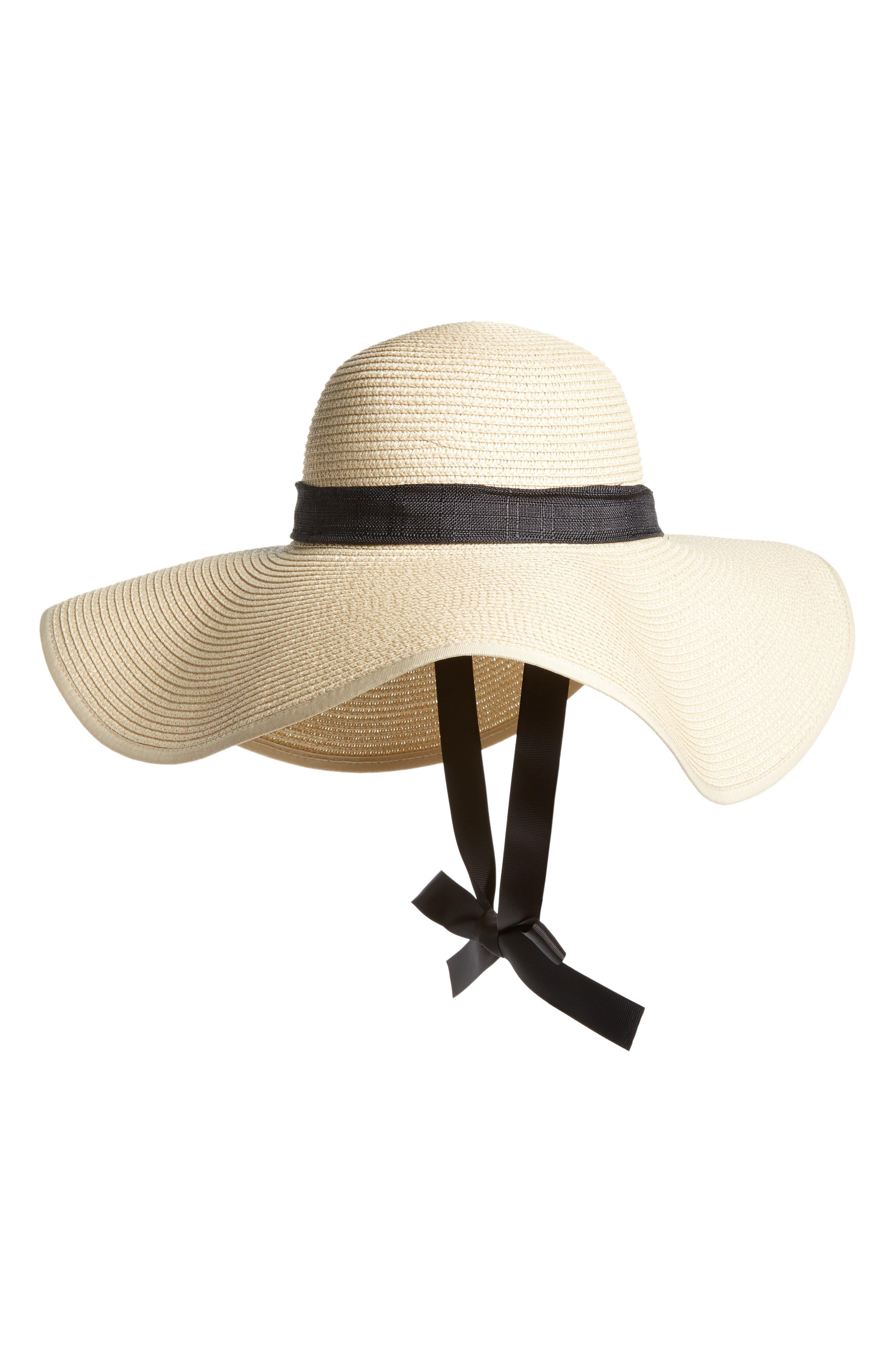 Tie Neck Ribbon Floppy Straw Hat,                         Main,                         color, Black/ Natural