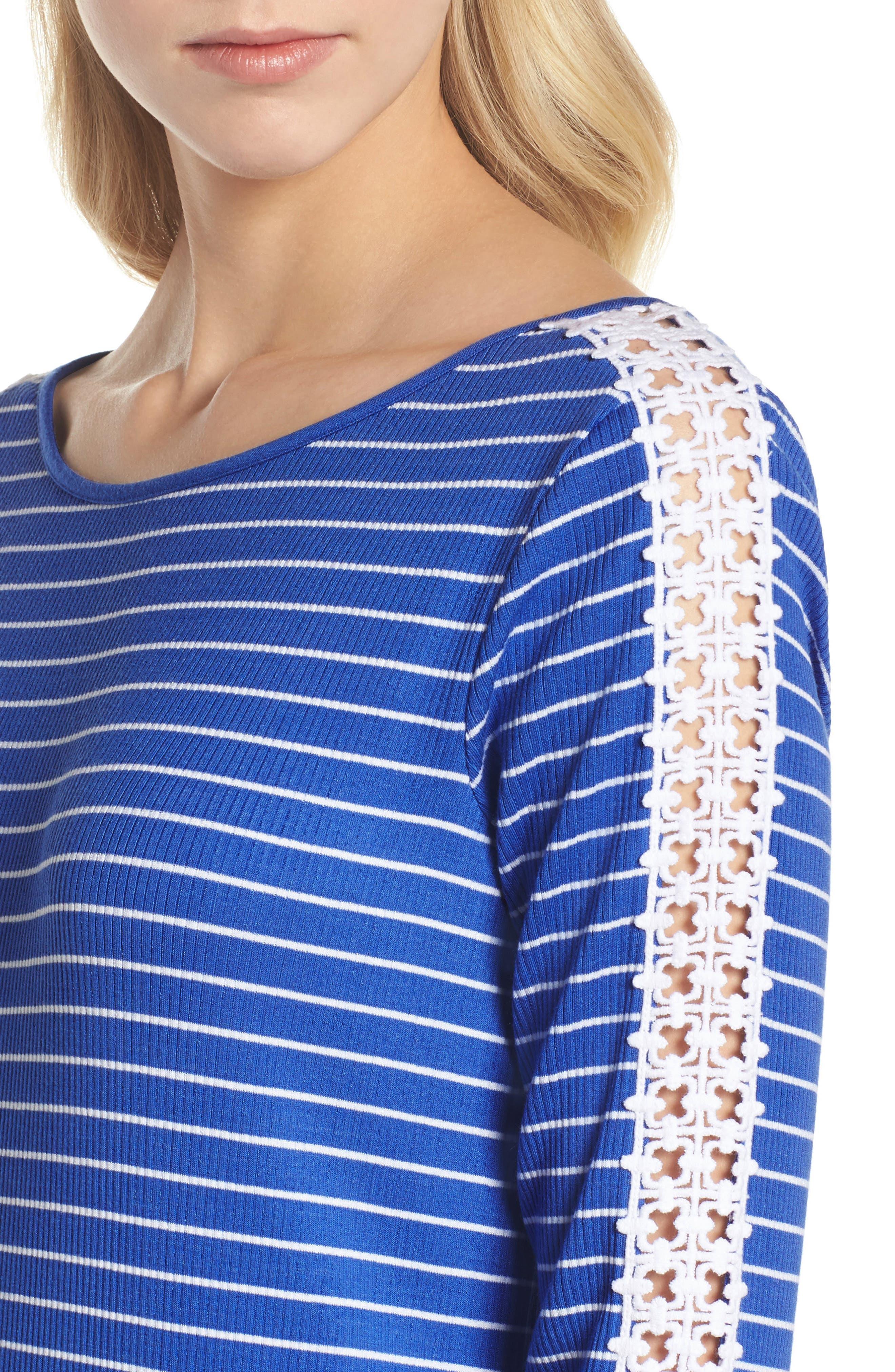 Marlowe Shift Dress,                             Alternate thumbnail 4, color,                             Beckon Blue Breeze Stripe