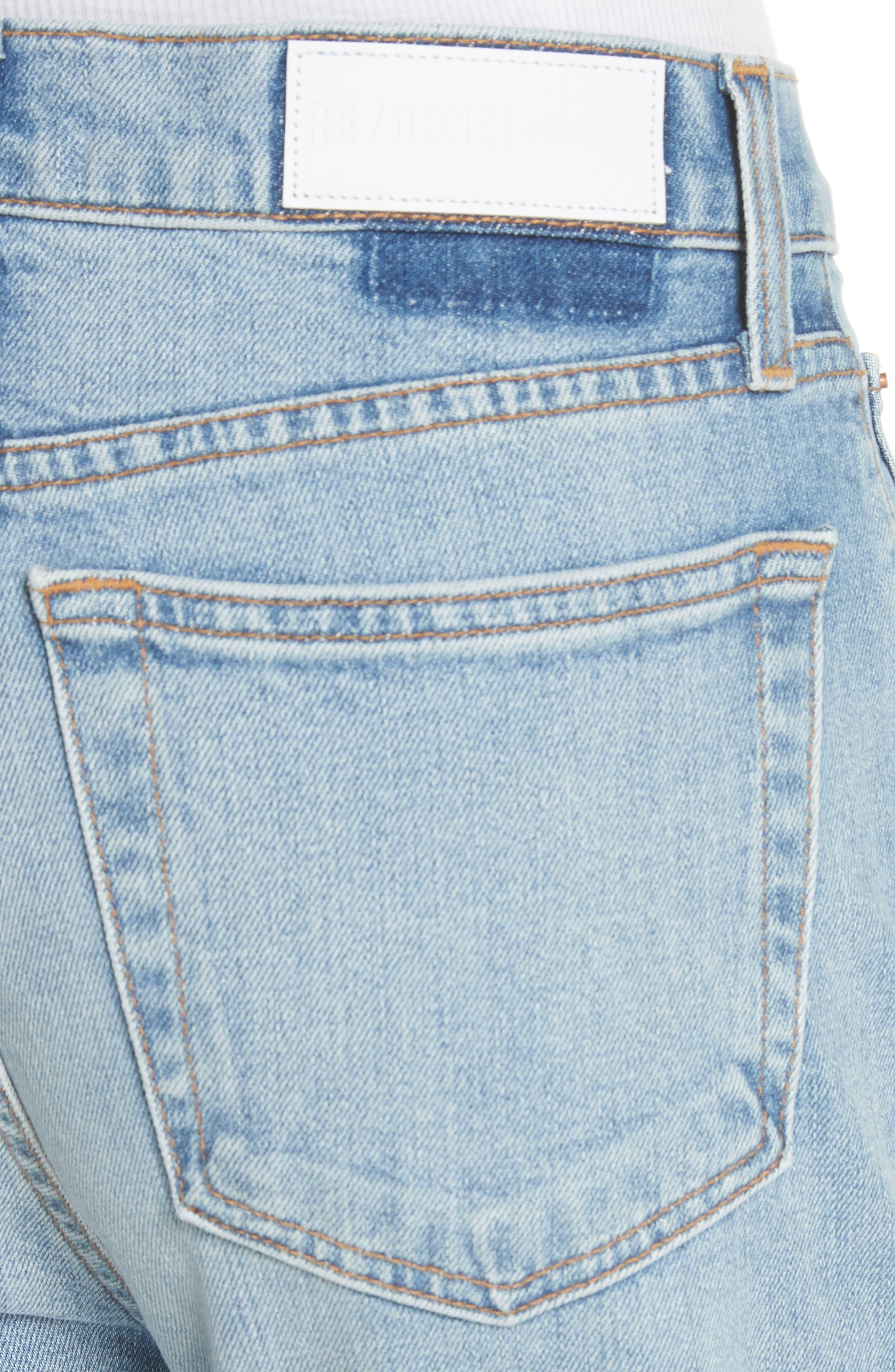High Waist Crop Jeans,                             Alternate thumbnail 4, color,                             Dark Wash