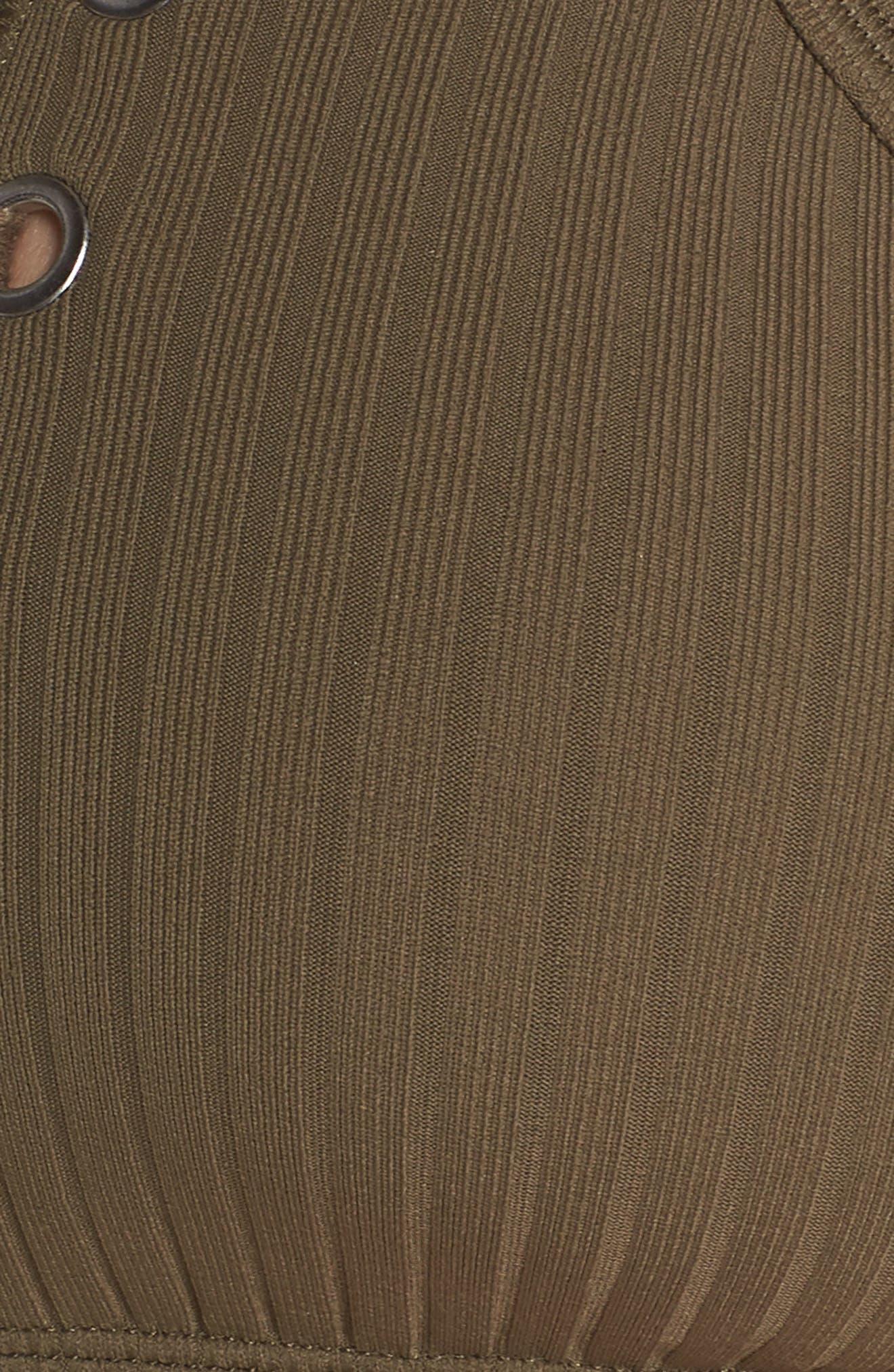 Inka Ribbed Lace-Up Bikini Top,                             Alternate thumbnail 8, color,                             Dark Olive