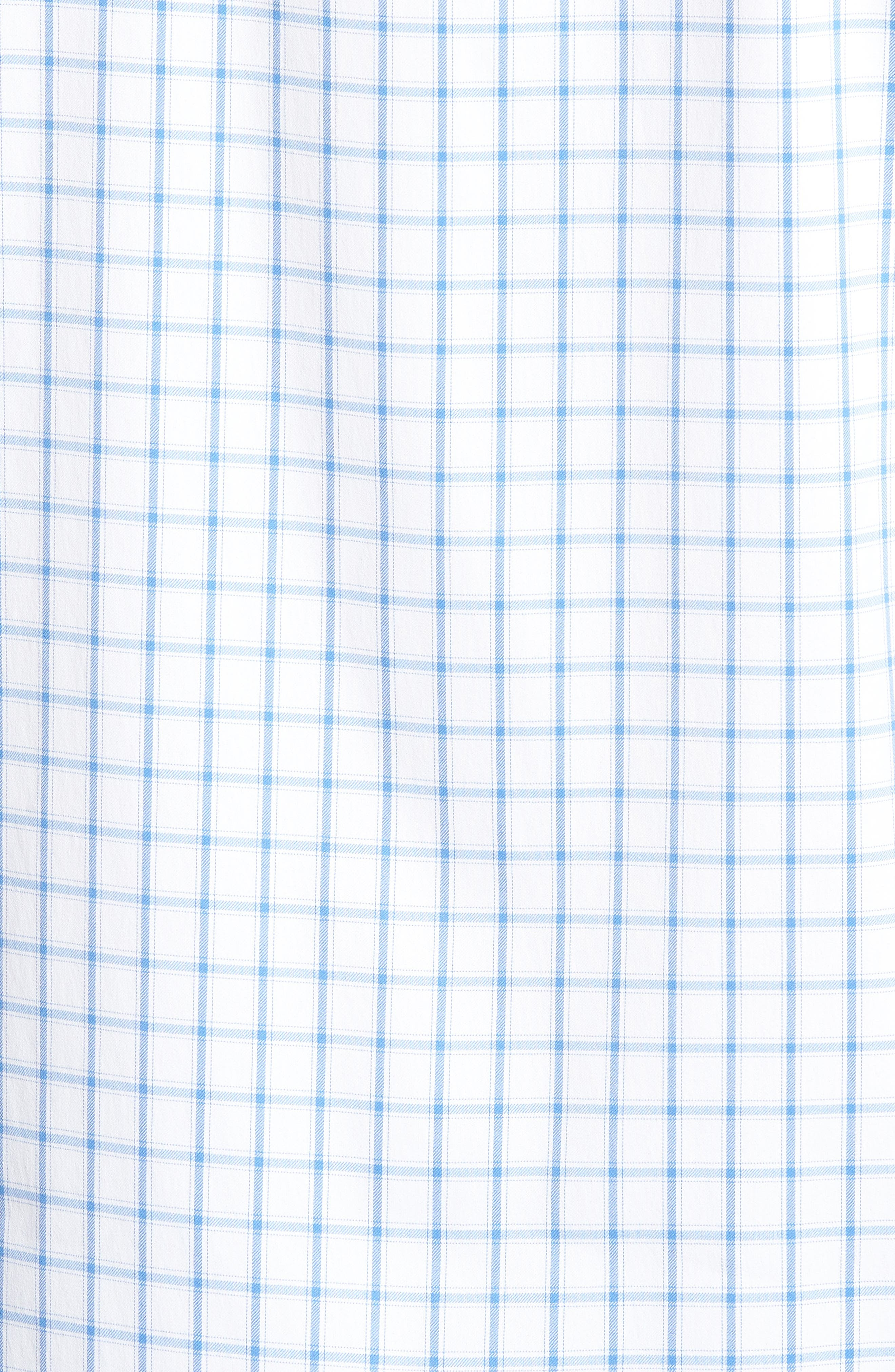 Slim Fit Check Performance Sport Shirt,                             Alternate thumbnail 5, color,                             Bray Oxford - Peony Coral