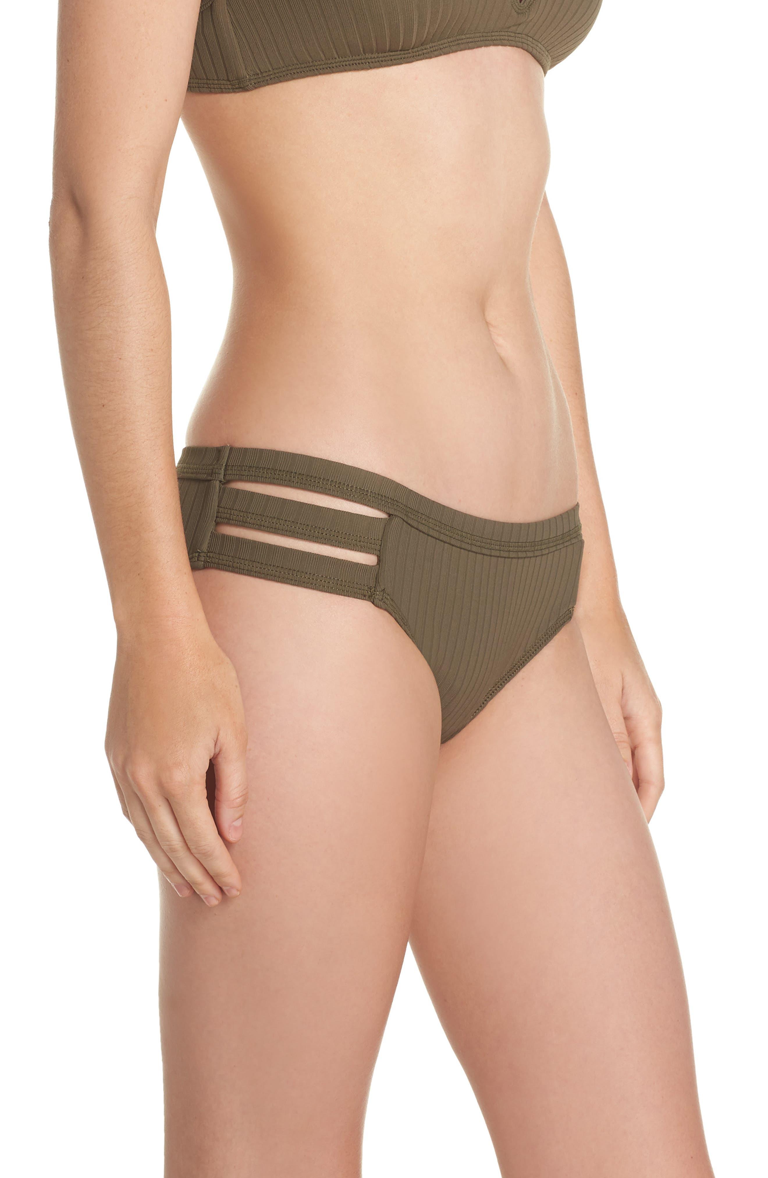 Inka Ribbed Hipster Bikini Bottoms,                             Alternate thumbnail 3, color,                             Dark Olive