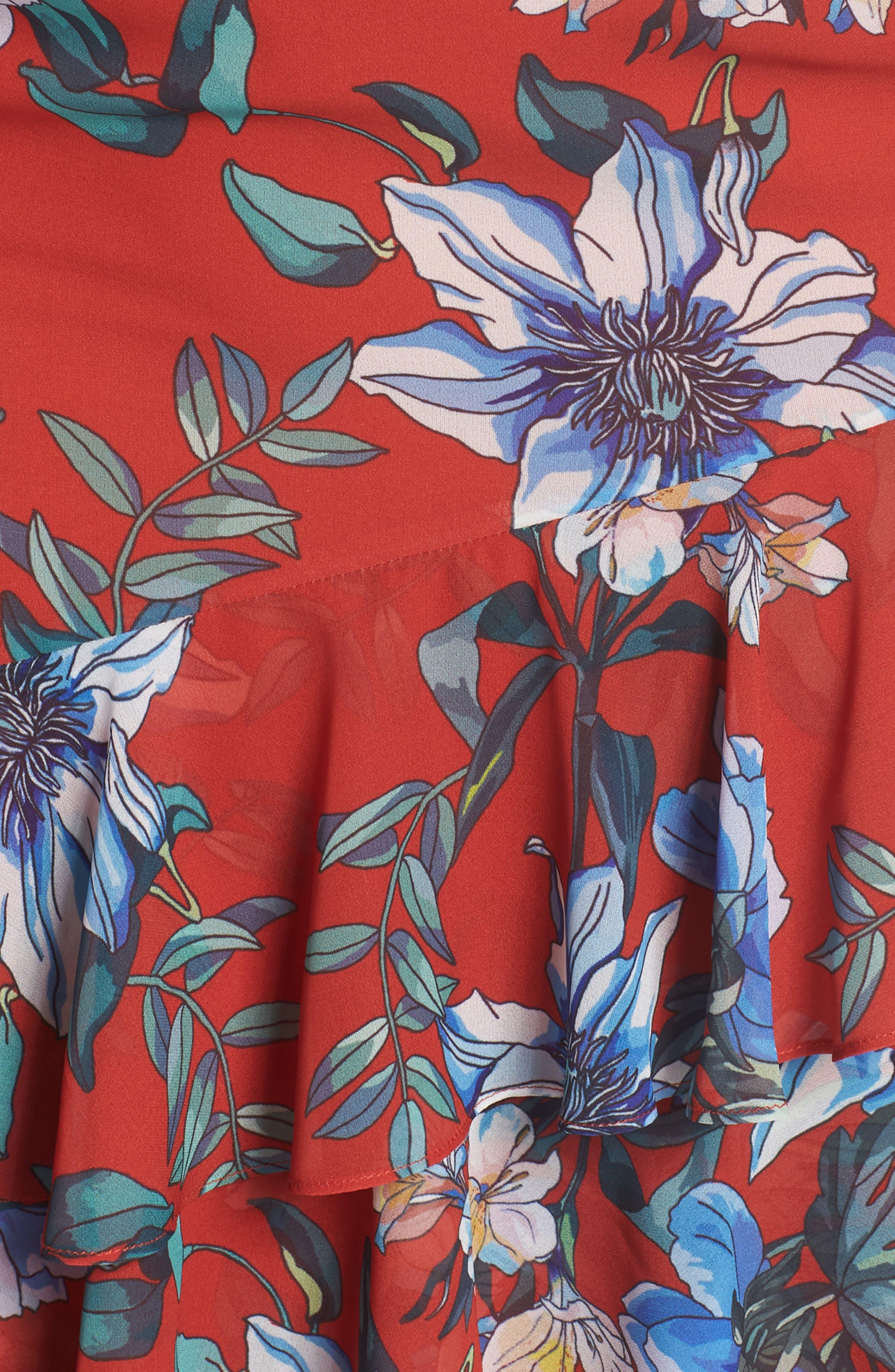 Floral Asymmetrical Dress,                             Alternate thumbnail 5, color,                             Print Dark